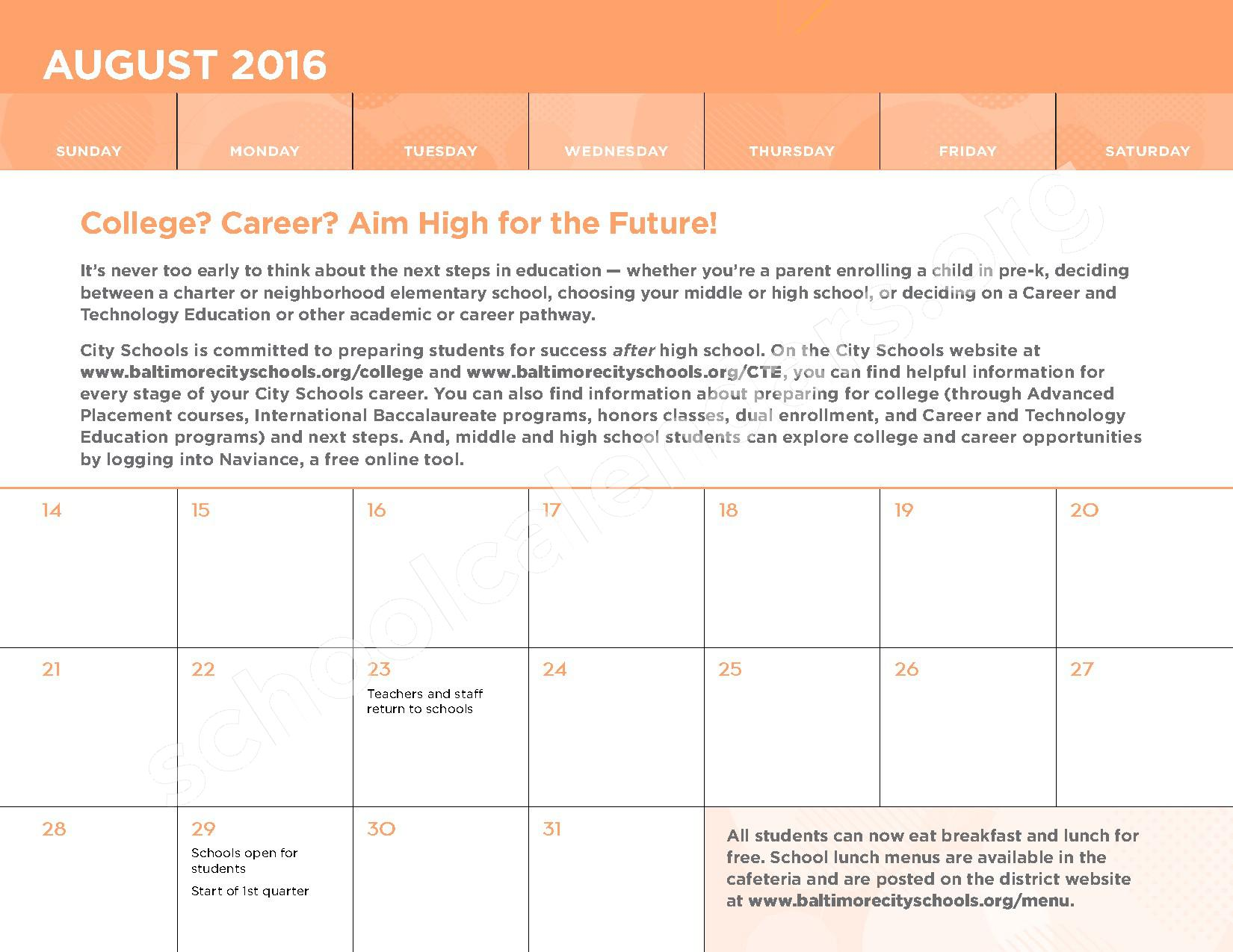 2016 - 2017 School Calendar – George W.F. McMechen – page 3