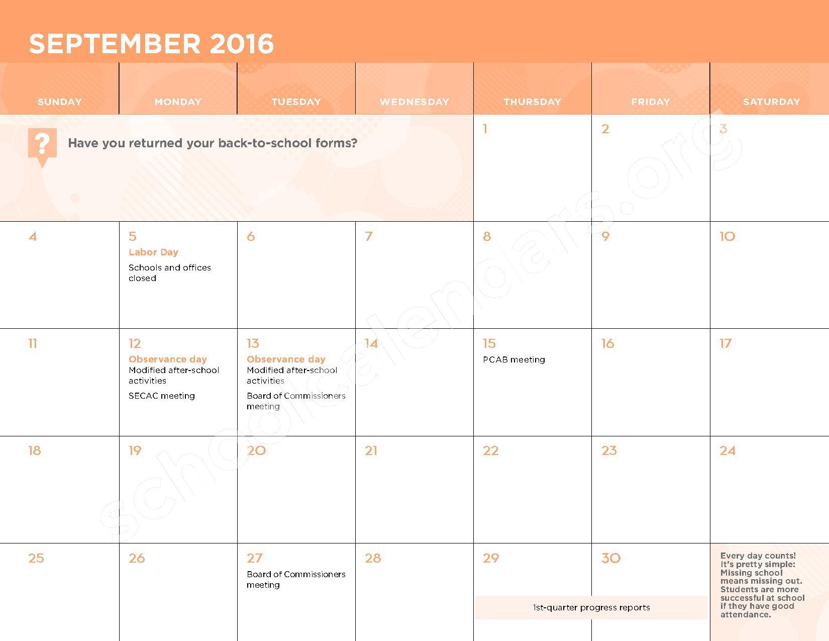 2016 - 2017 School Calendar – George W.F. McMechen – page 4