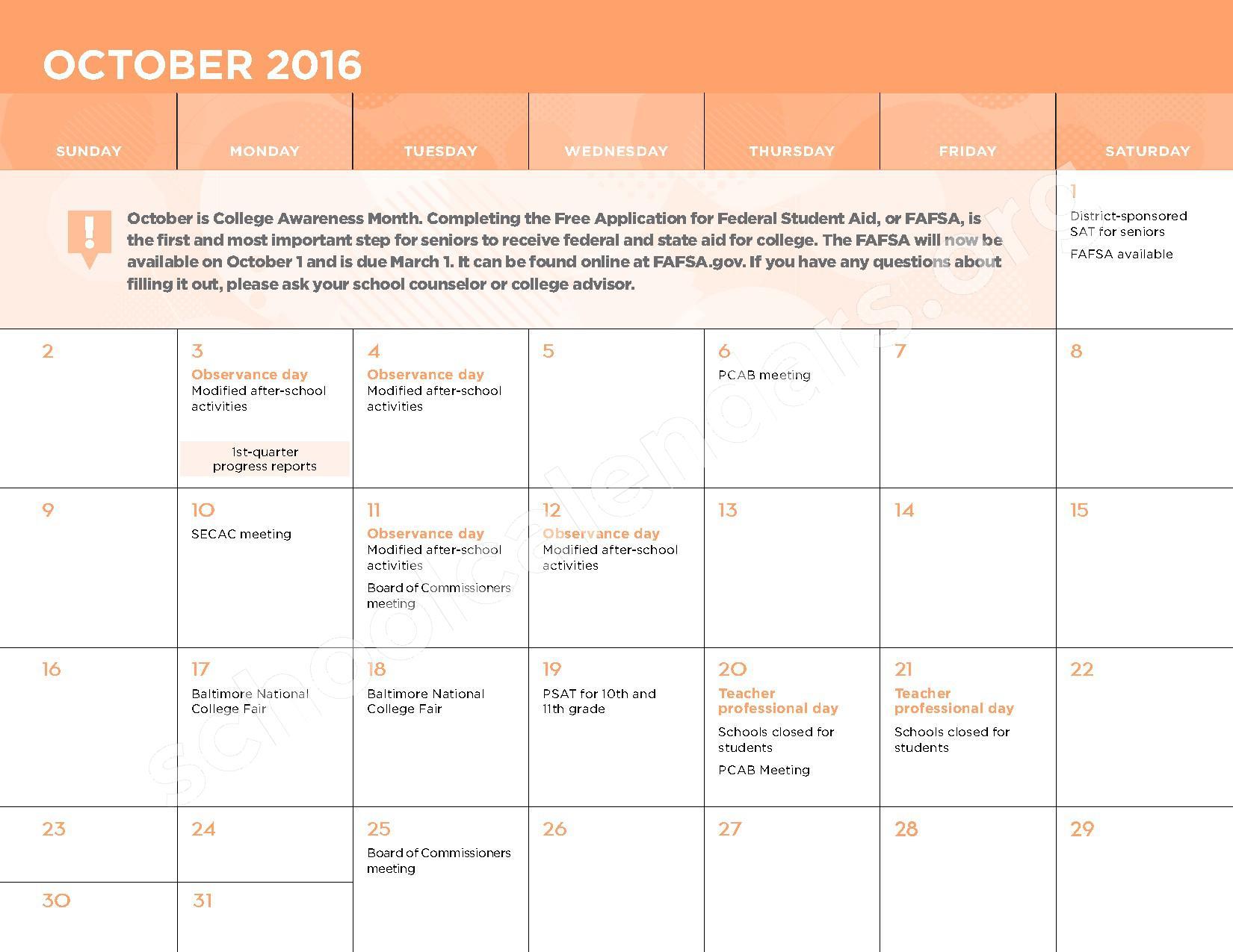 2016 - 2017 School Calendar – George W.F. McMechen – page 5
