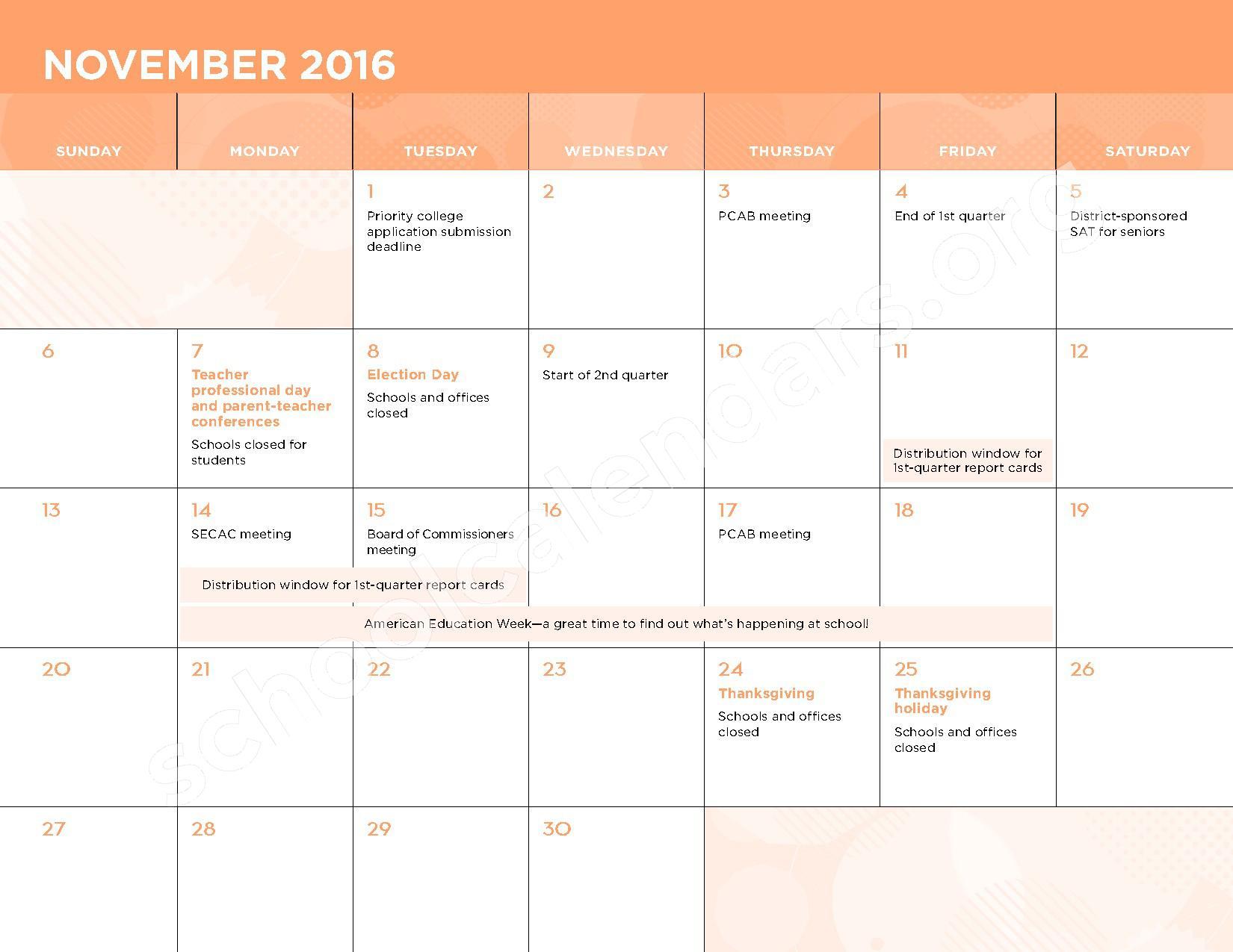 2016 - 2017 School Calendar – George W.F. McMechen – page 6