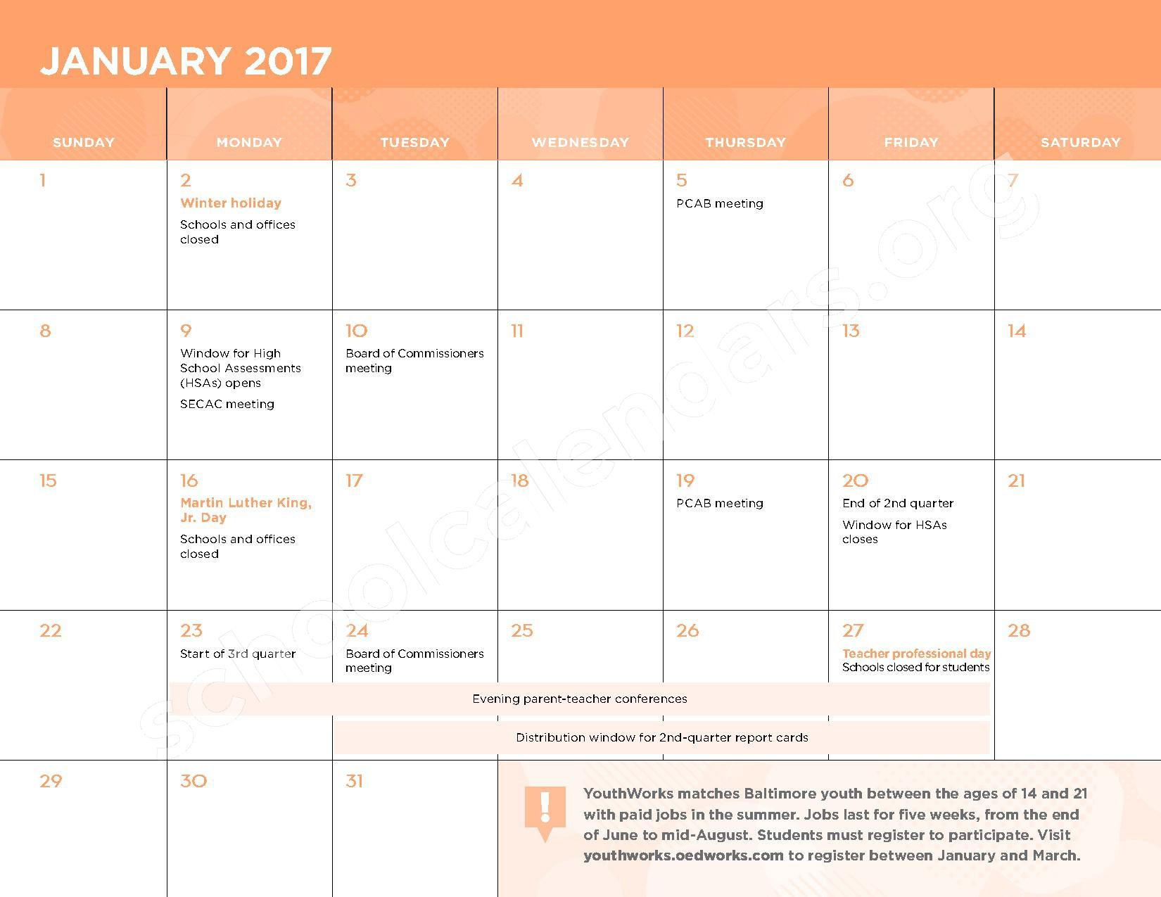 2016 - 2017 School Calendar – Kasa (Knowledge and Success Academy) – page 8