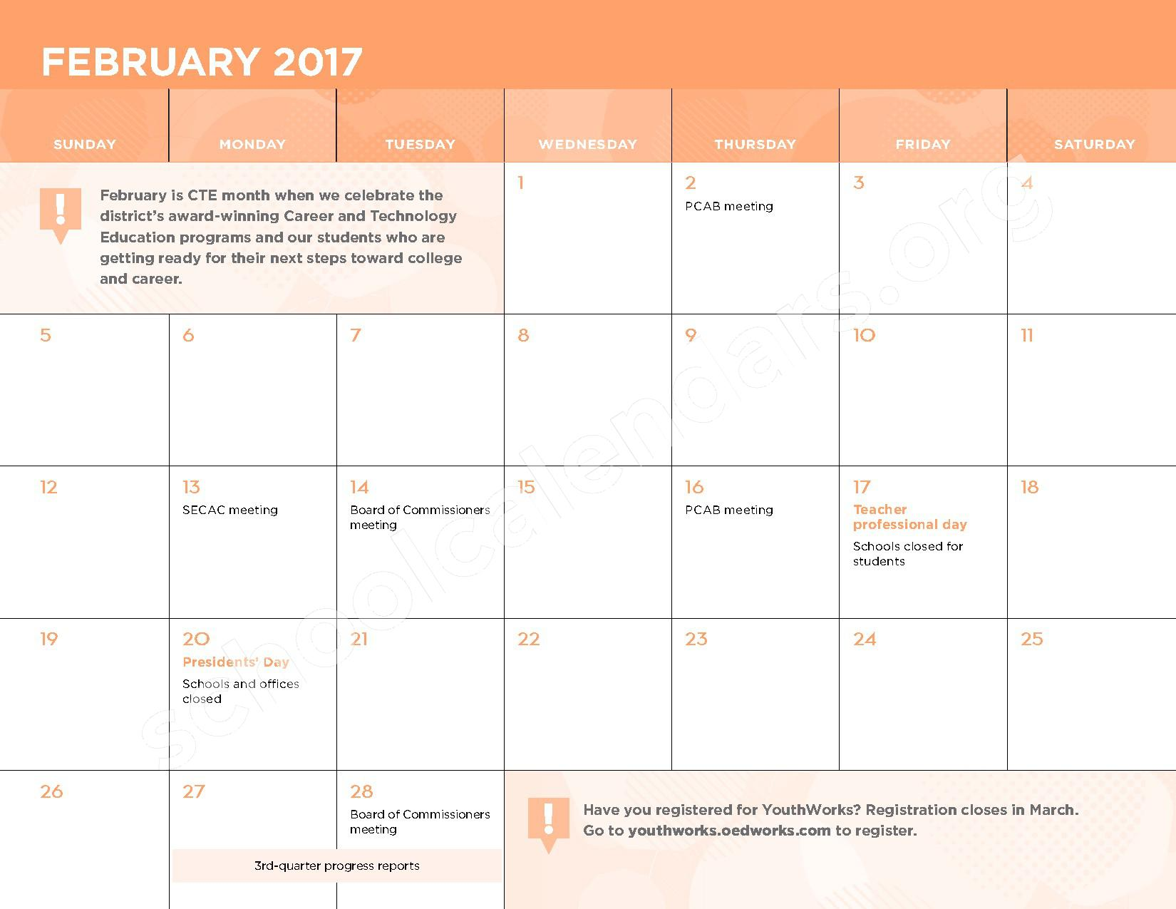 2016 - 2017 School Calendar – Kasa (Knowledge and Success Academy) – page 9