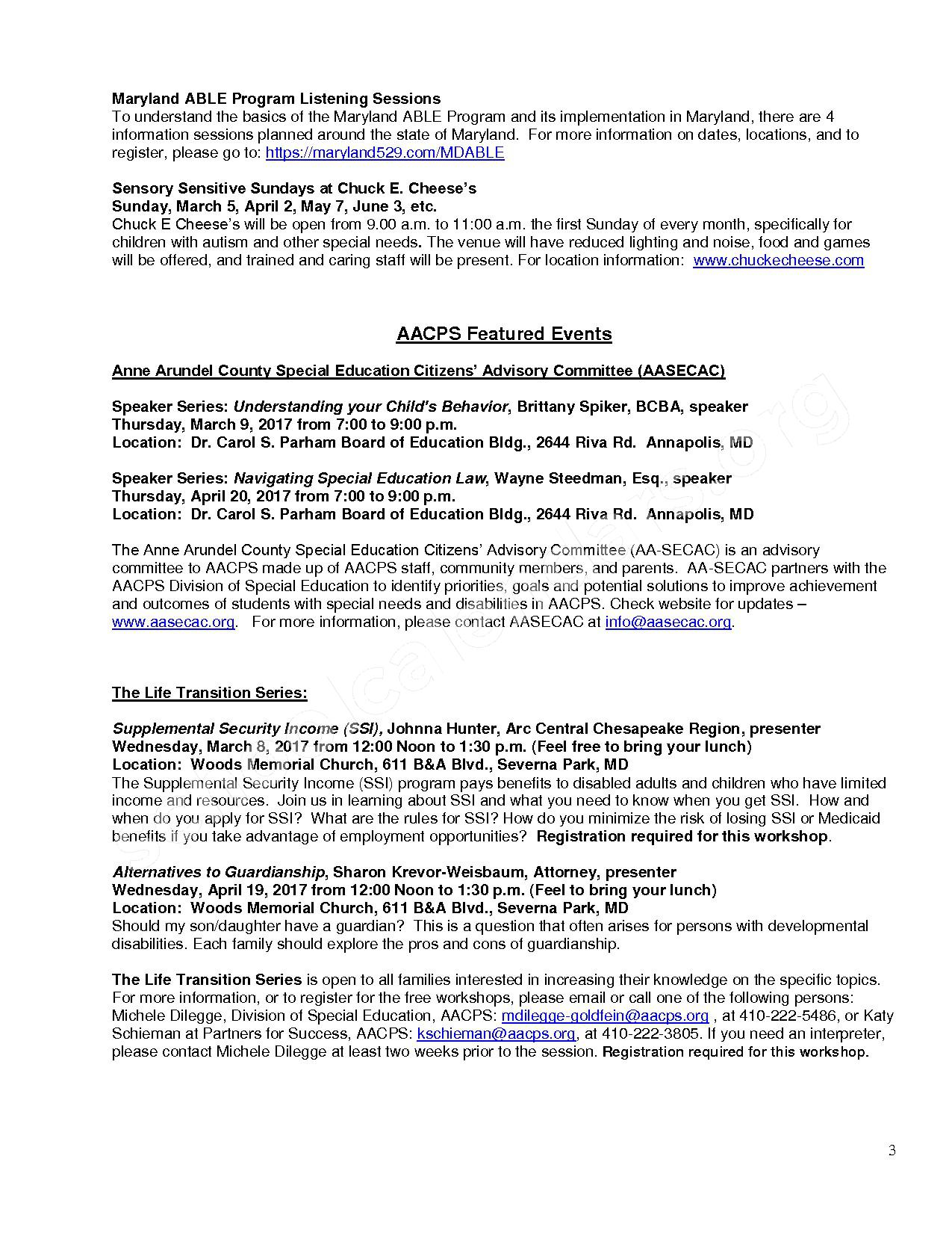 2016 - 2017 Partners for Success Monthly Calendar of Events – Anne Arundel County Public Schools – page 3