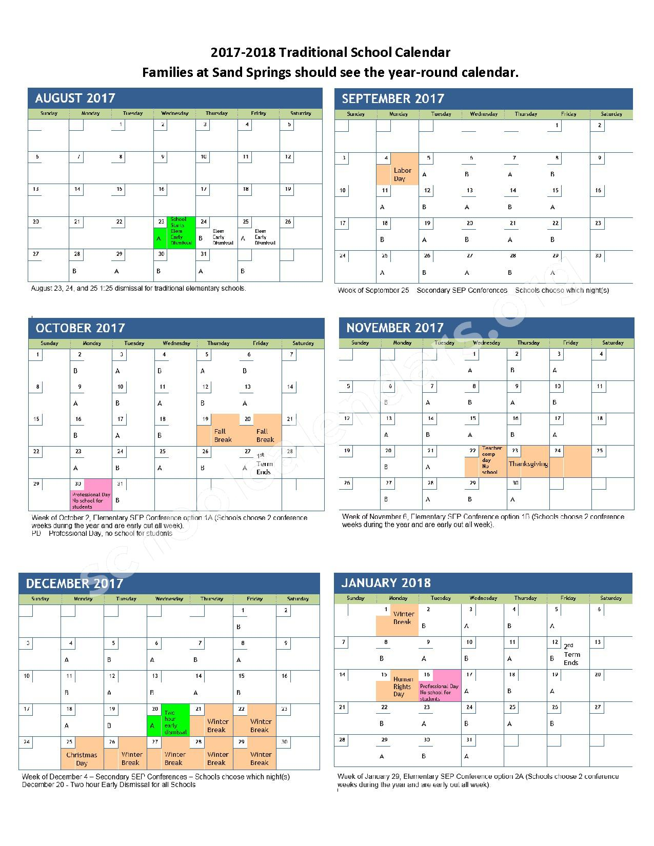 2017 - 2018 School Calendar – Davis School District – page 1