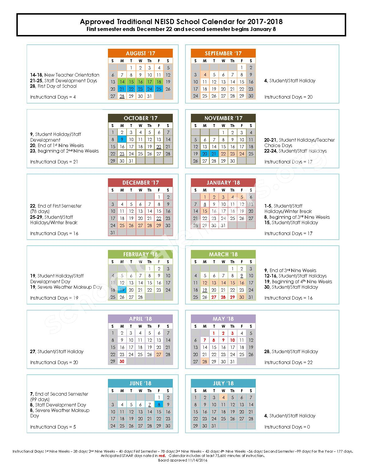 2017 - 2018 Traditional Calendar – North East Independent School District – page 1