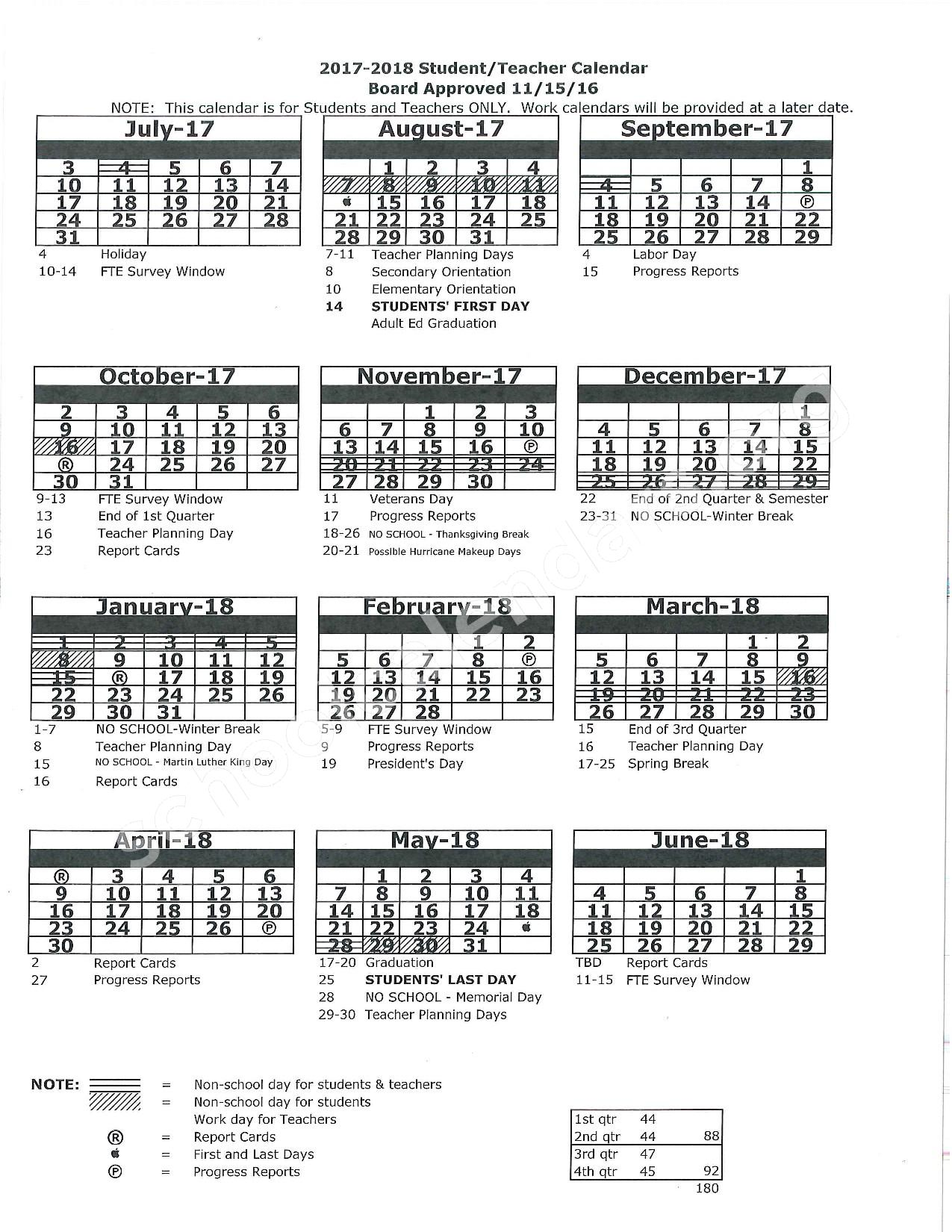 2017 - 2018 School Calendar – Pasco County School District – page 1