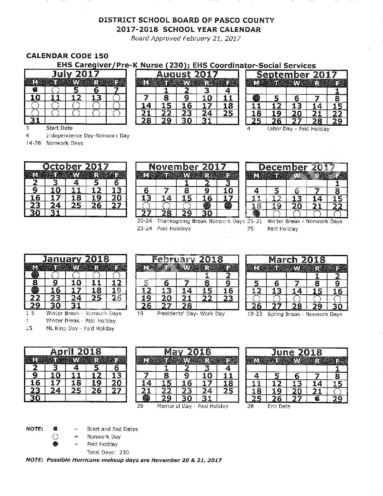 2017 - 2018 District Calendar – Pasco County School District – page 1