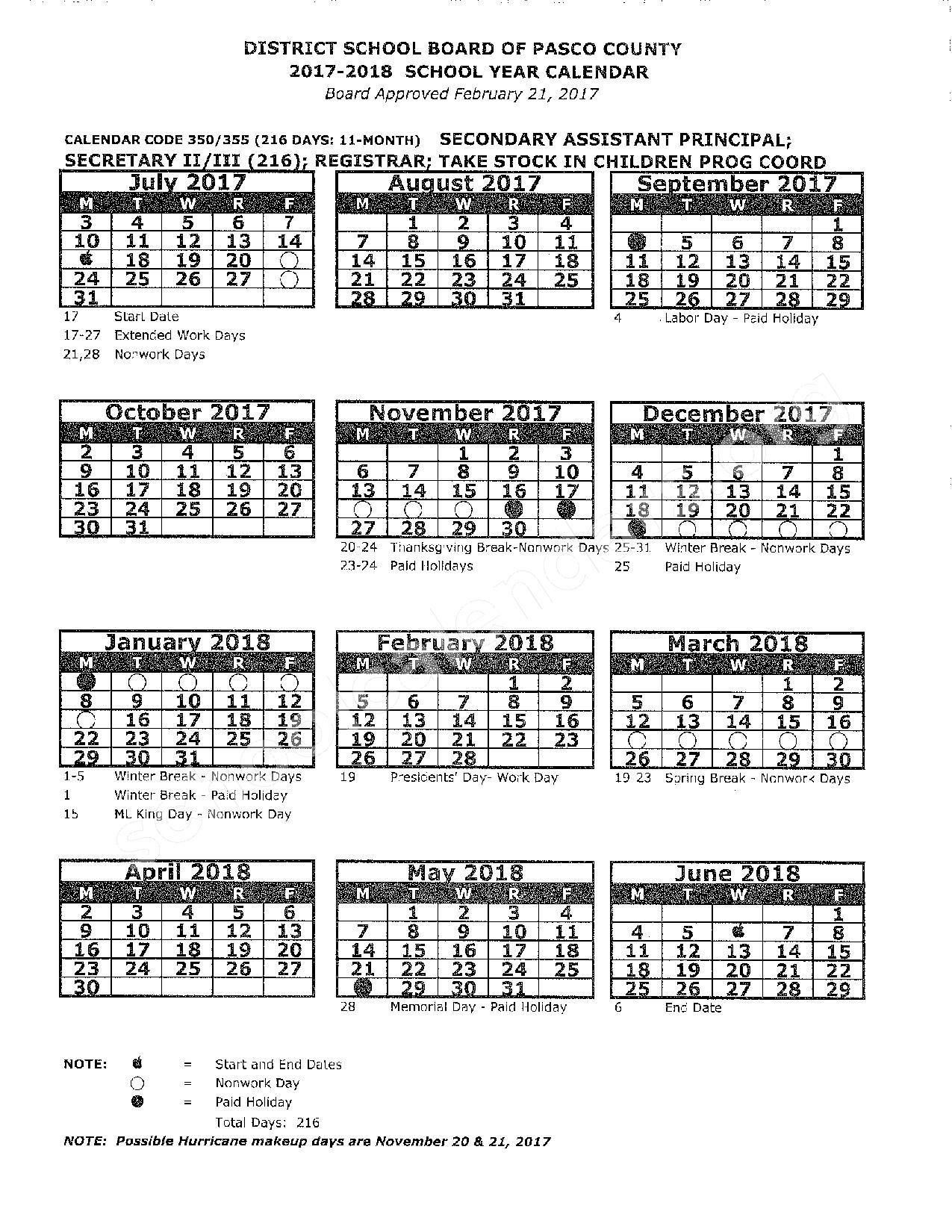 2017 - 2018 District Calendar – Pasco County School District – page 1