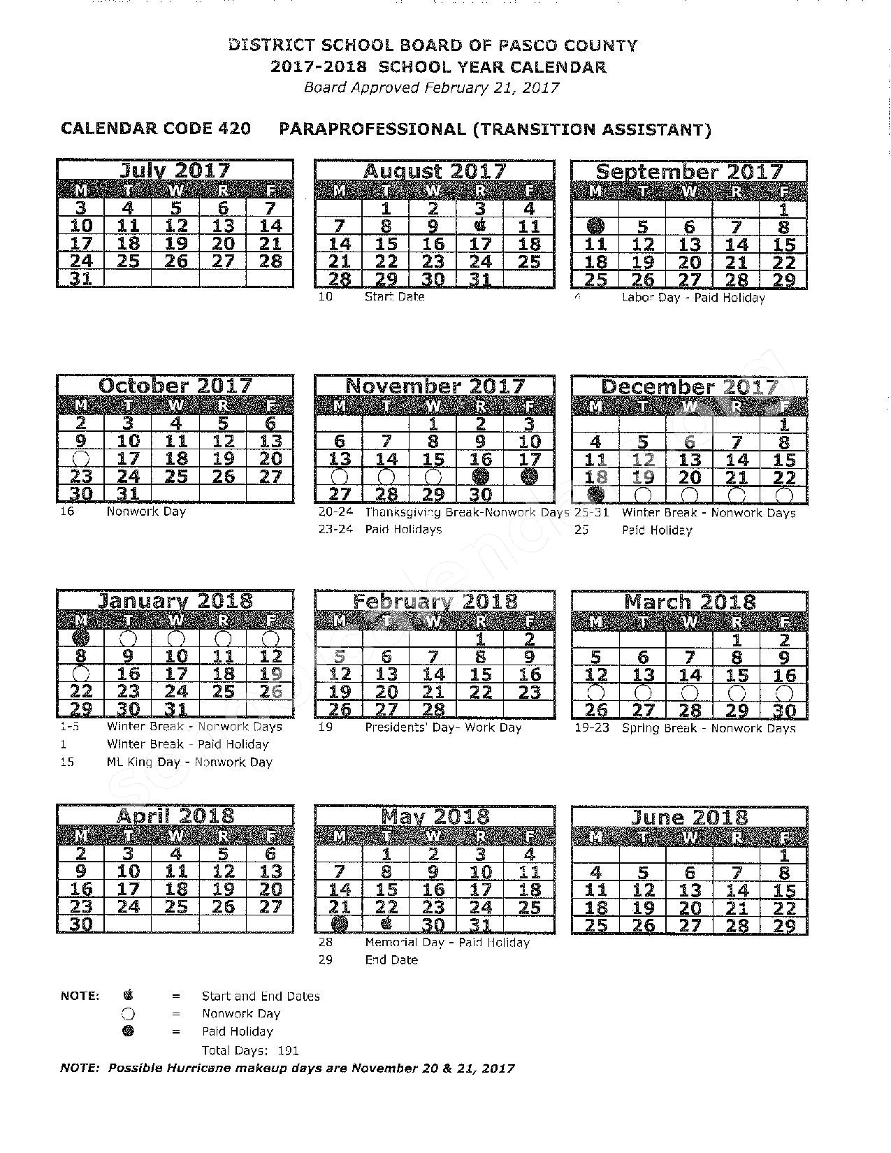 2017 -2018 School Calendar – Pasco County School District – page 1