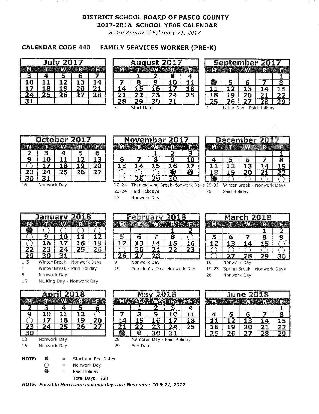 2017 - 2018 School Calendar – Pasco County School District – page 1