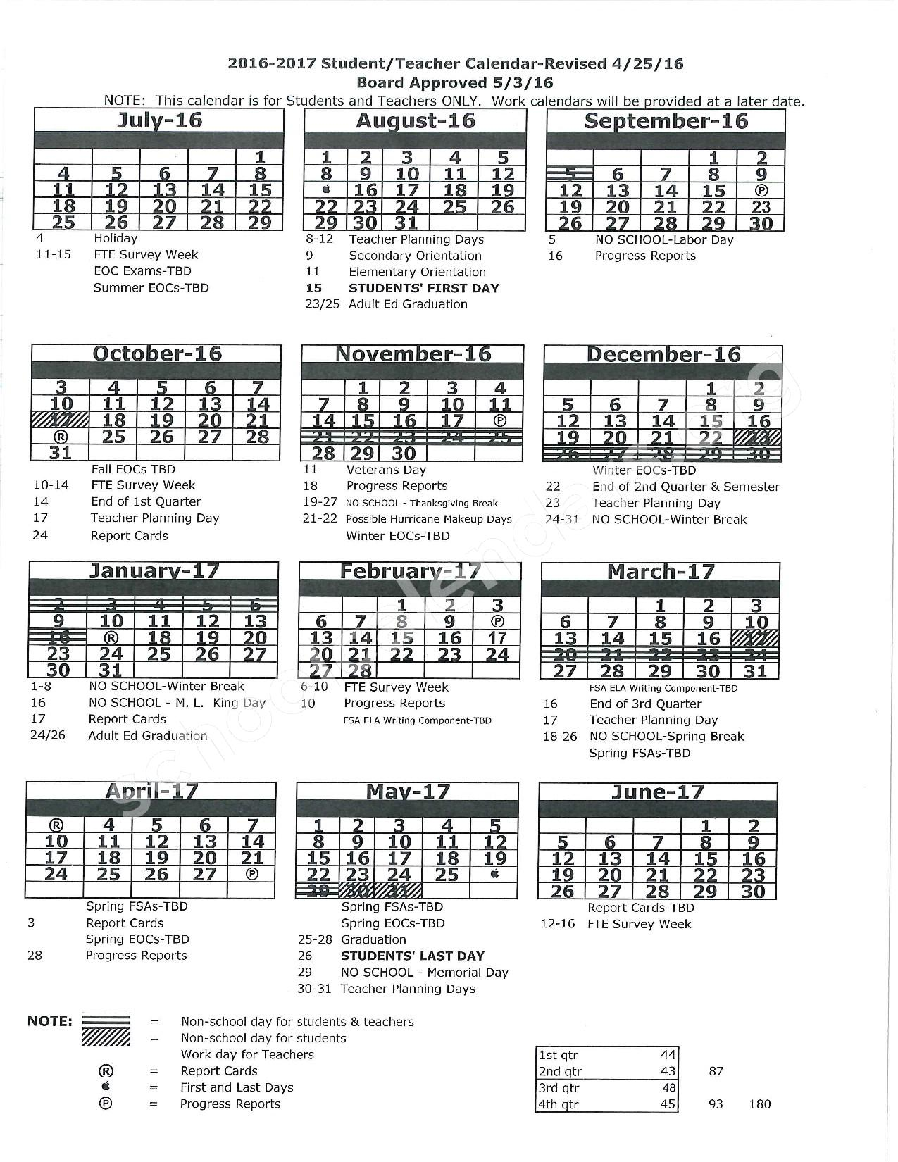 2016 - 2017 District Calendar – Pasco County School District – page 1