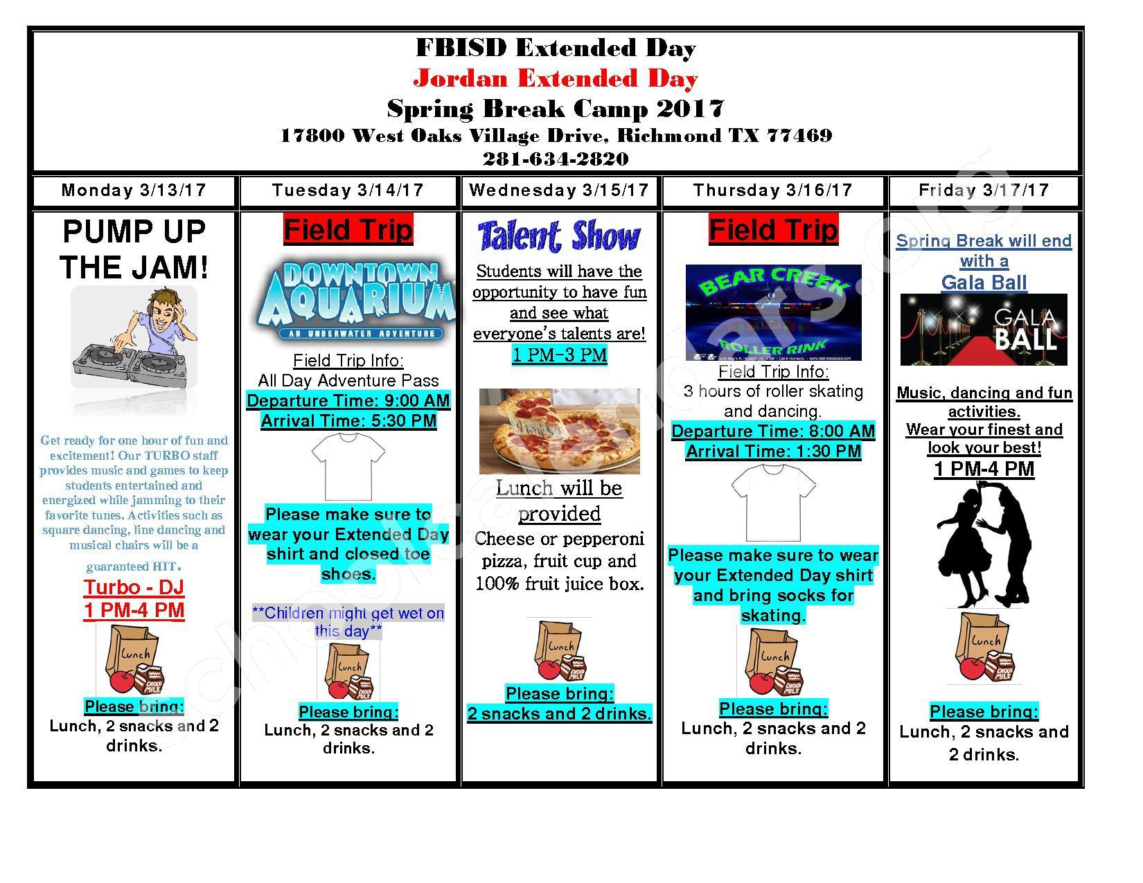 2017 Jordan Spring Break Calendar – Barbara Jordan Elementary School – page 1