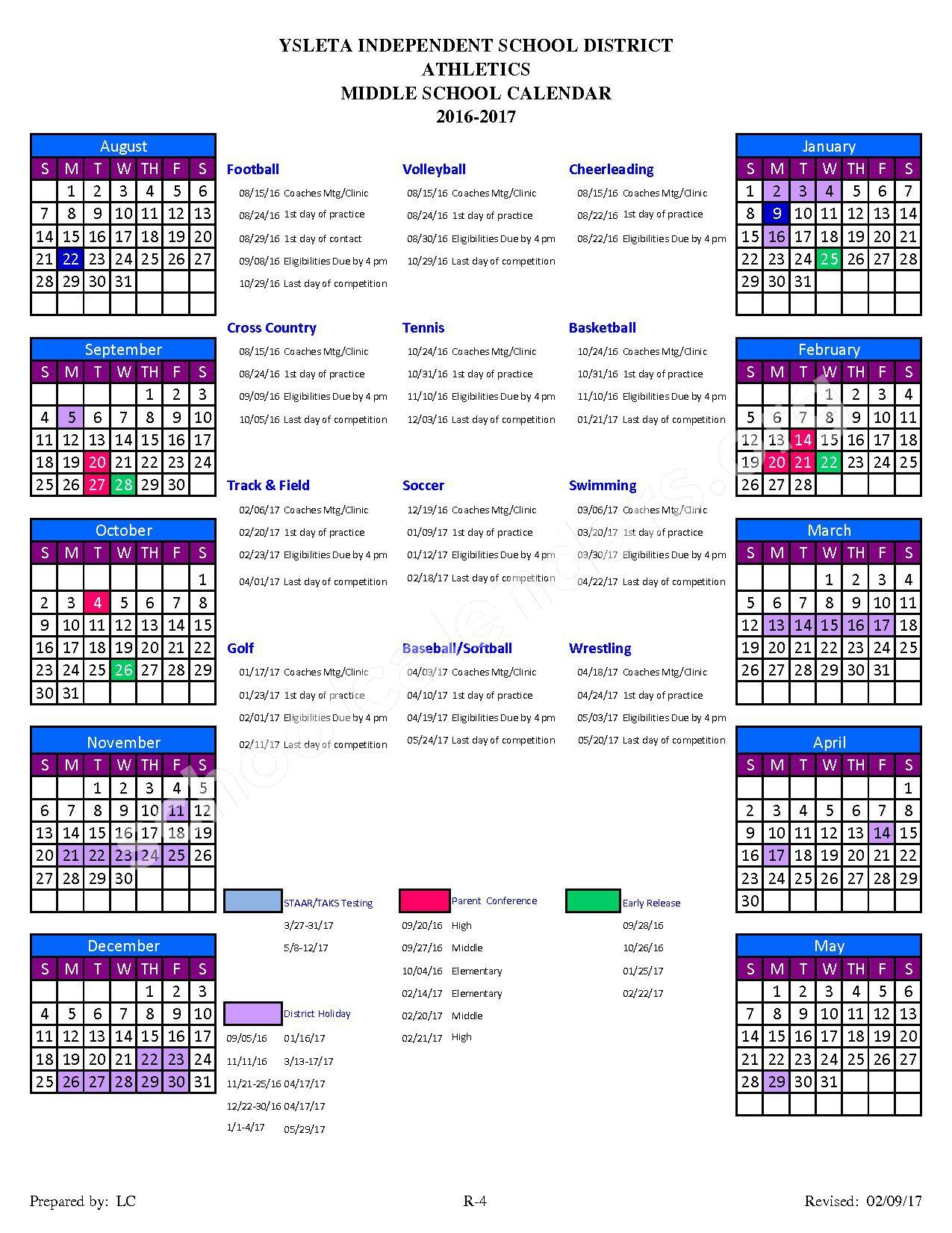 2016 - 2017 Middle School Athletic Calendar – School-Age Parent Center – page 1