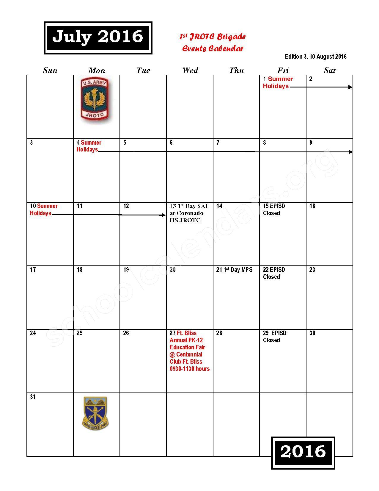 2016 - 2017 JROTC Events Calendar – Rivera Elementary School – page 1