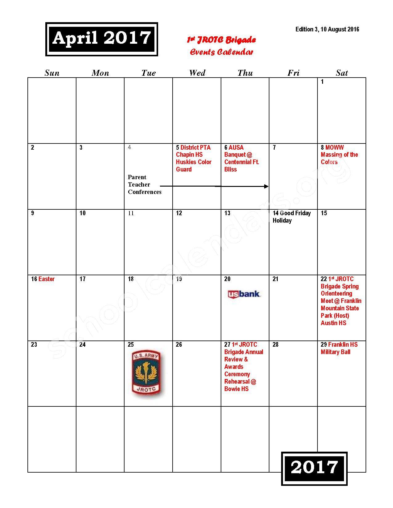 2016 - 2017 JROTC Events Calendar – Rivera Elementary School – page 10