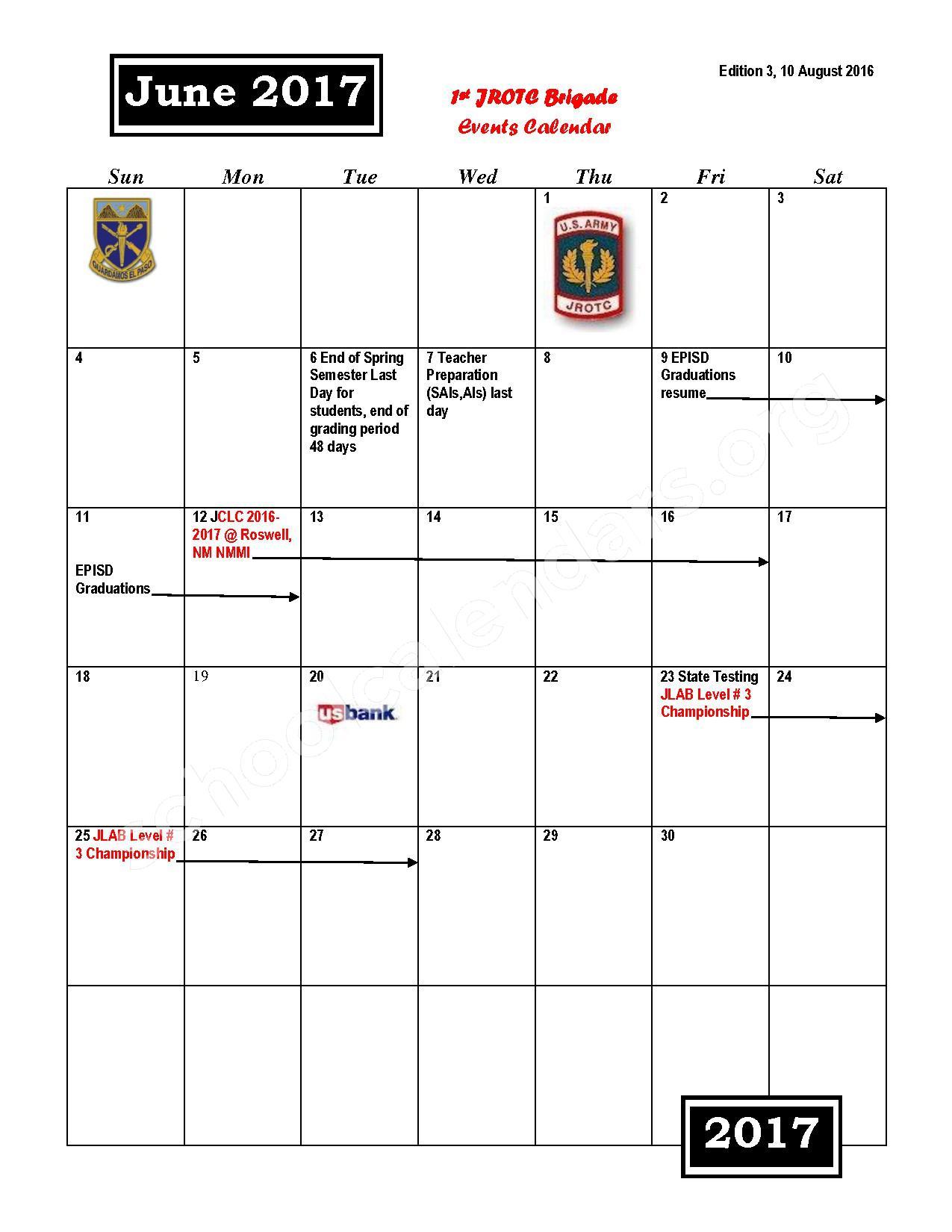 2016 - 2017 JROTC Events Calendar – Rivera Elementary School – page 12
