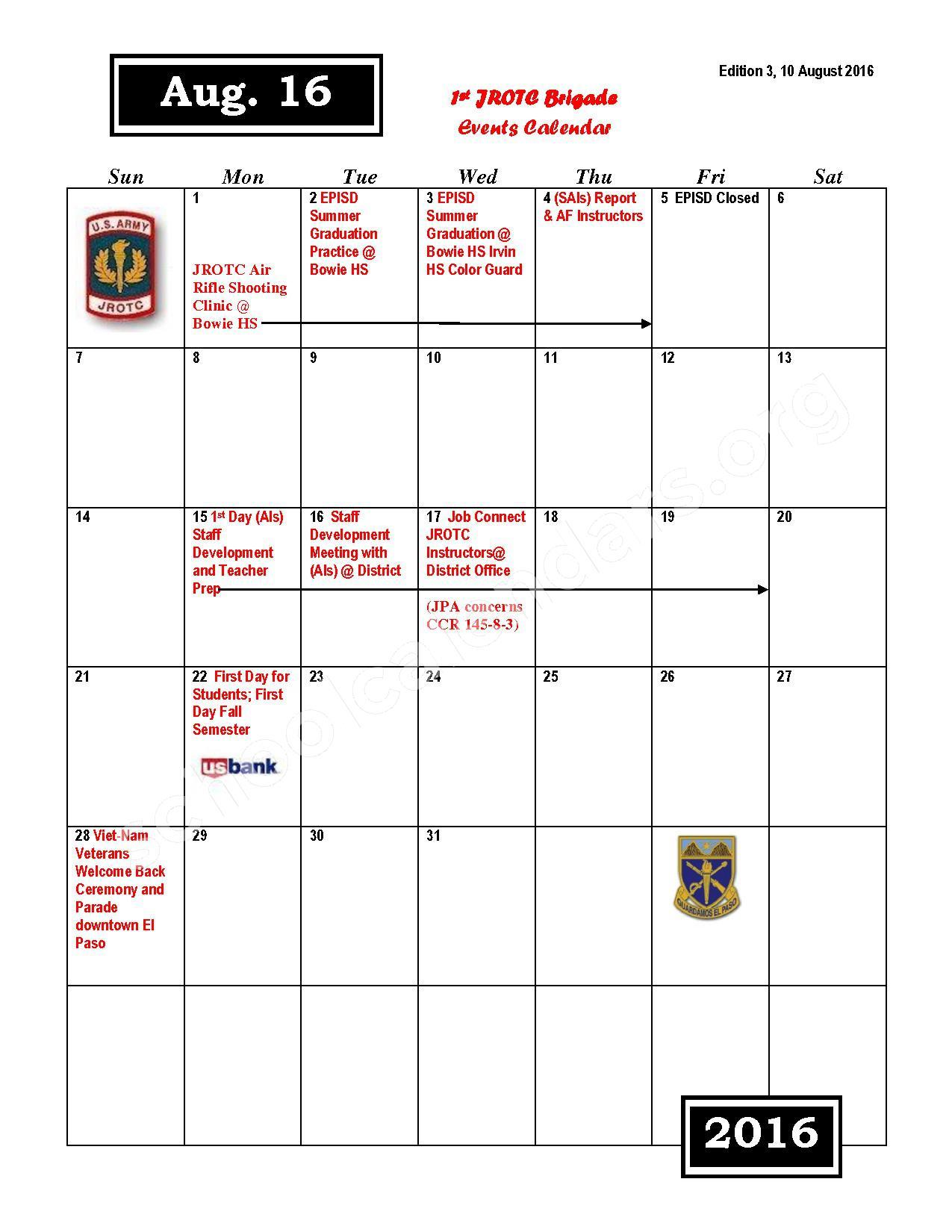 2016 - 2017 JROTC Events Calendar – Rivera Elementary School – page 2