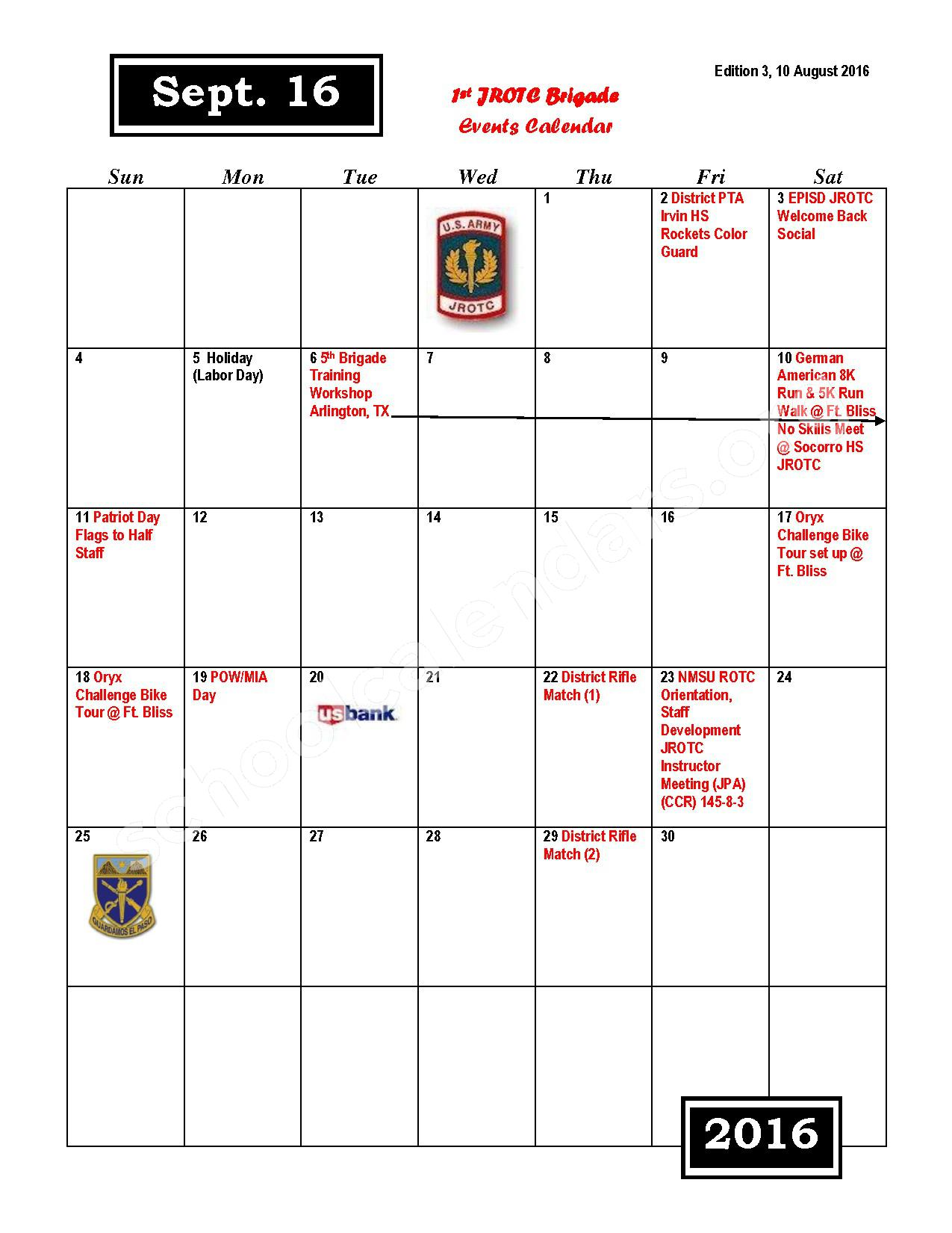 2016 - 2017 JROTC Events Calendar – Rivera Elementary School – page 3