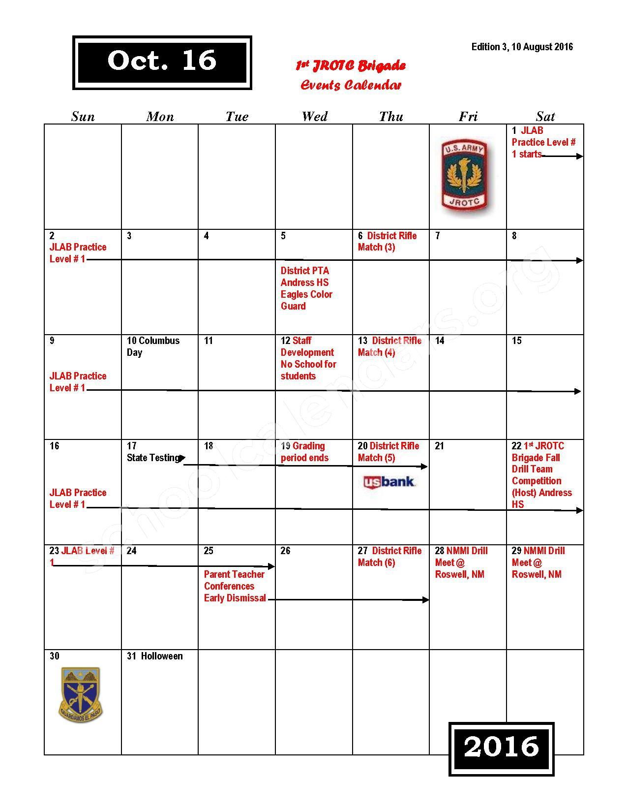 2016 - 2017 JROTC Events Calendar – Rivera Elementary School – page 4