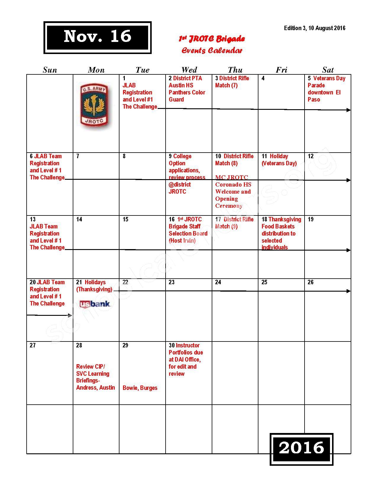 2016 - 2017 JROTC Events Calendar – Rivera Elementary School – page 5
