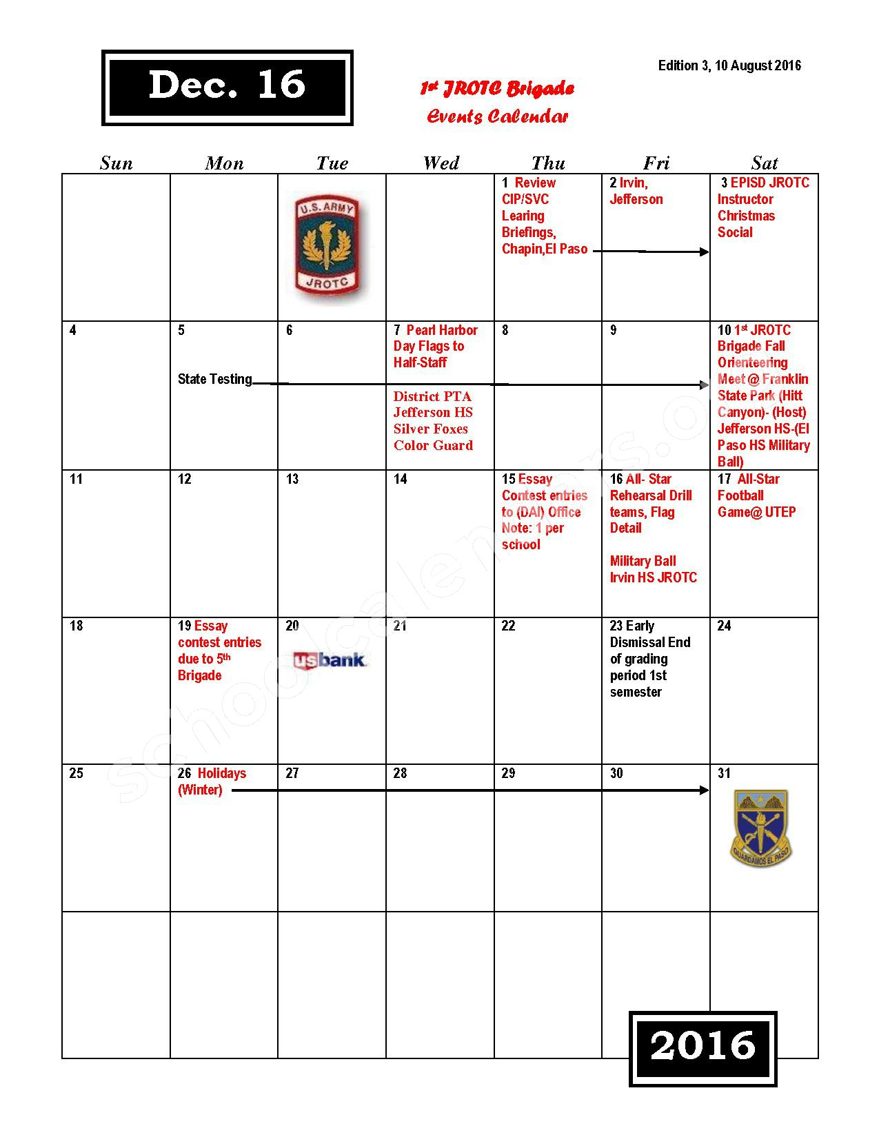 2016 - 2017 JROTC Events Calendar – Rivera Elementary School – page 6