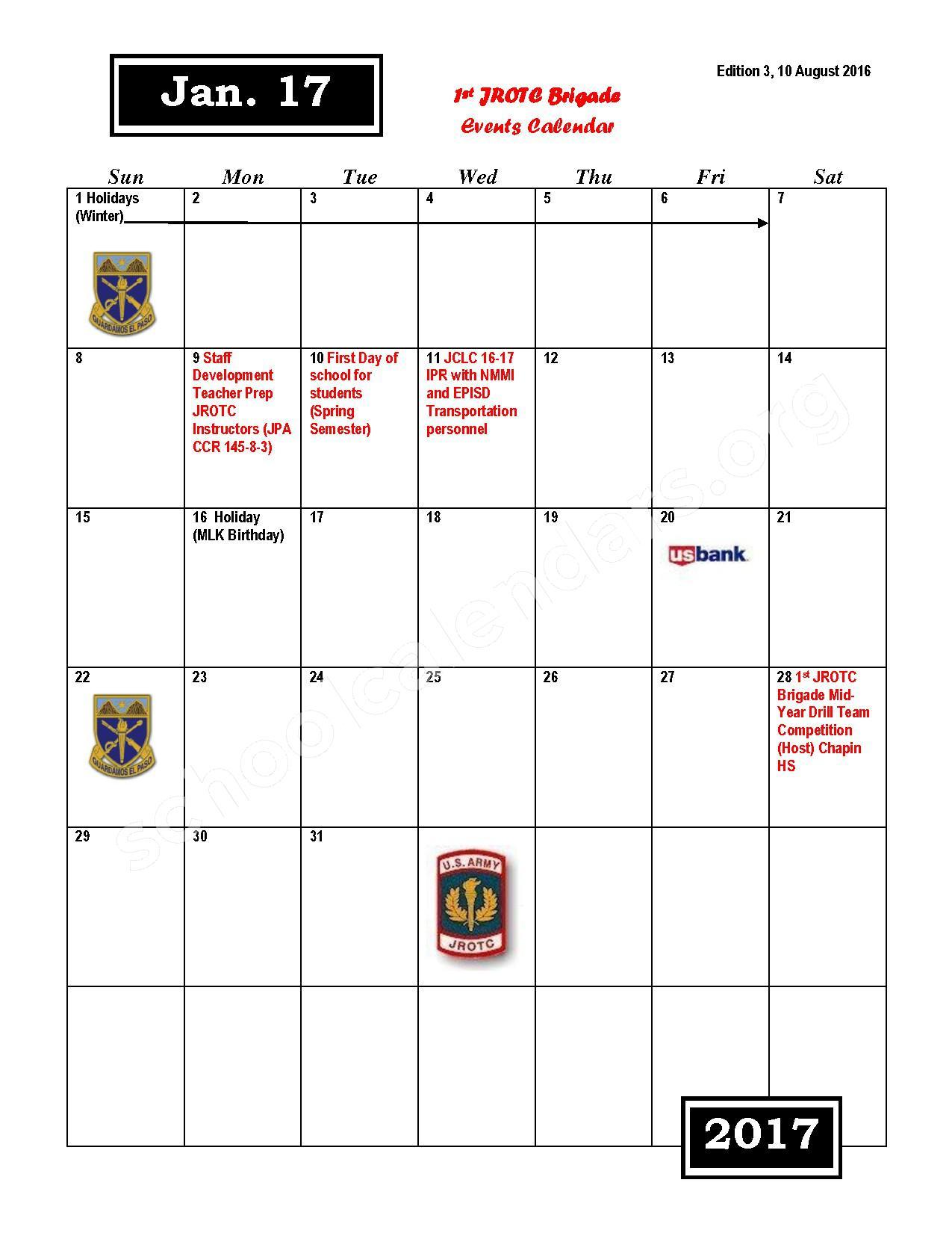 2016 - 2017 JROTC Events Calendar – Rivera Elementary School – page 7