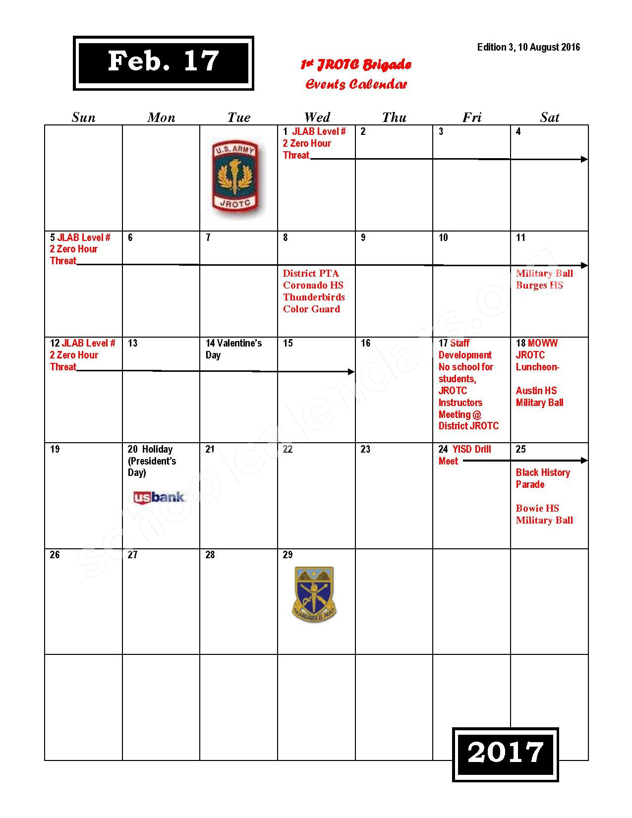 2016 - 2017 JROTC Events Calendar – Rivera Elementary School – page 8