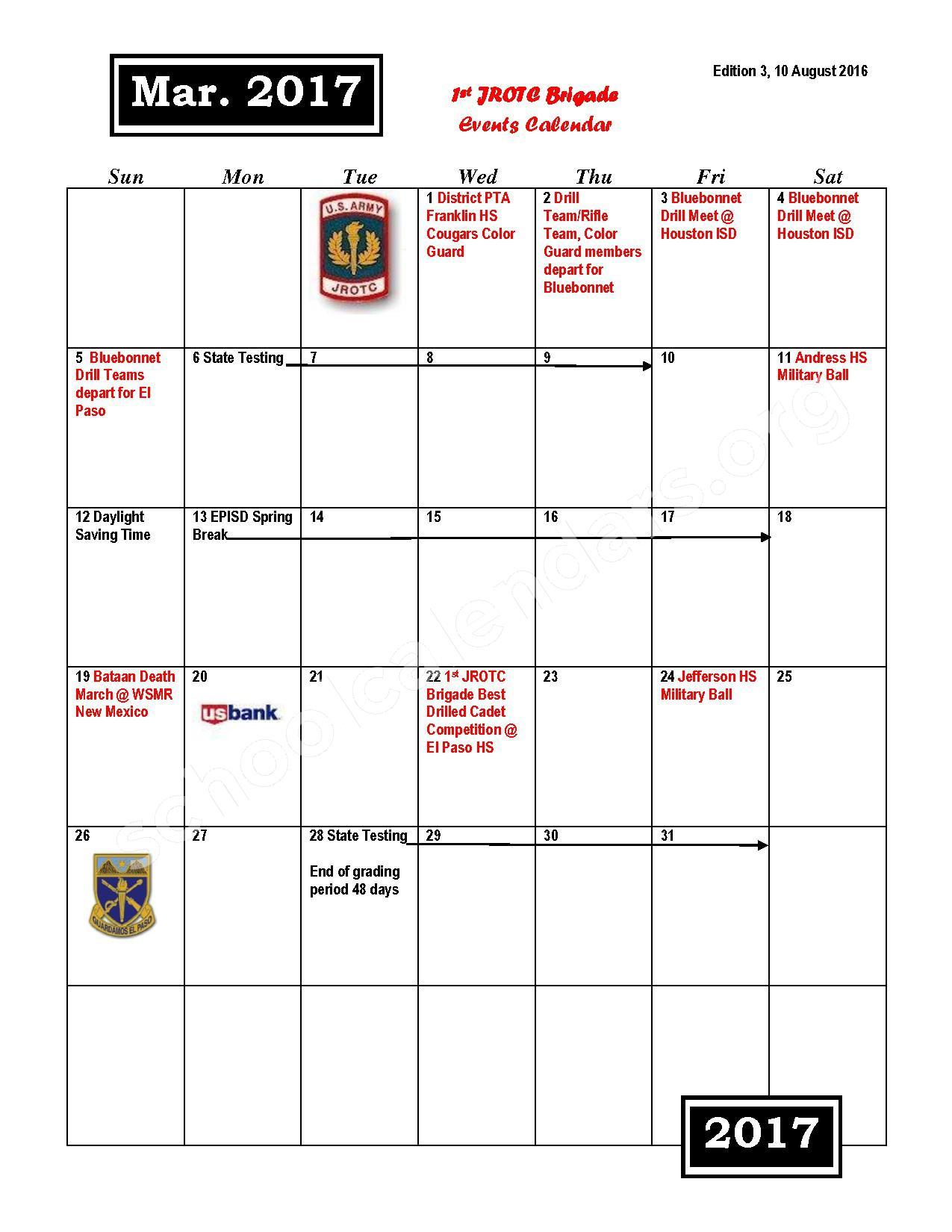 2016 - 2017 JROTC Events Calendar – Rivera Elementary School – page 9