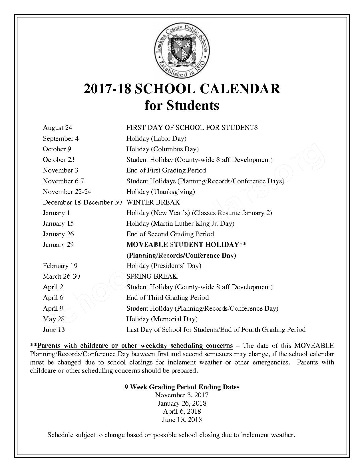 2017 - 2018 Student Calendar – Harmony Middle School – page 1