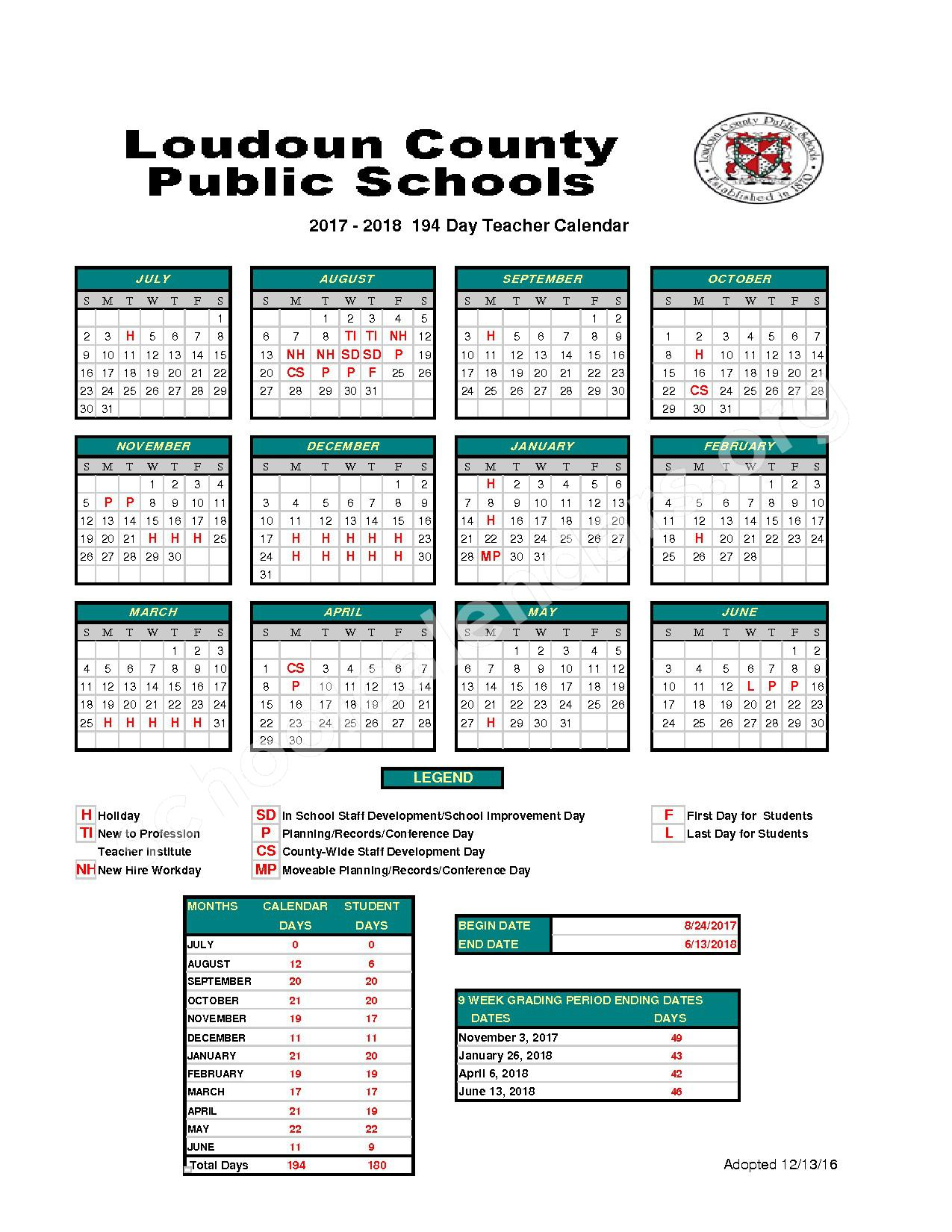 2017 - 2018 Teacher & Staff Calendar – Loudoun County Public Schools – page 1