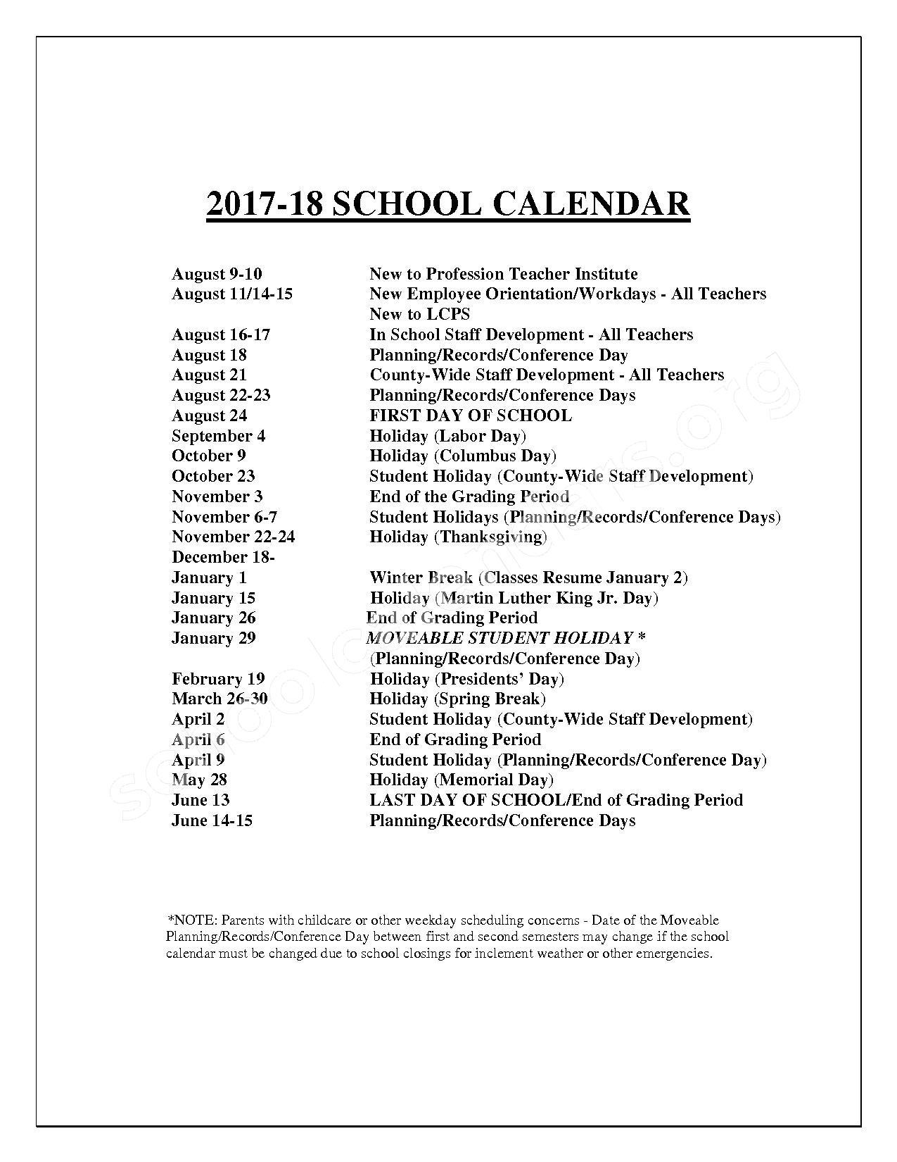 2017 - 2018 Teacher & Staff Calendar – Loudoun County Public Schools – page 2