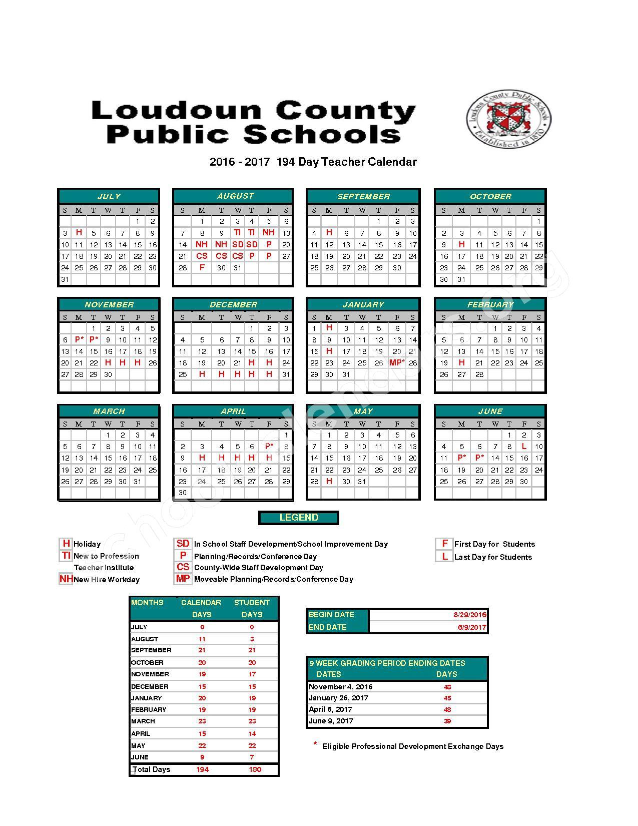 2016   2017Staff Calendar | Loudoun County Public Schools
