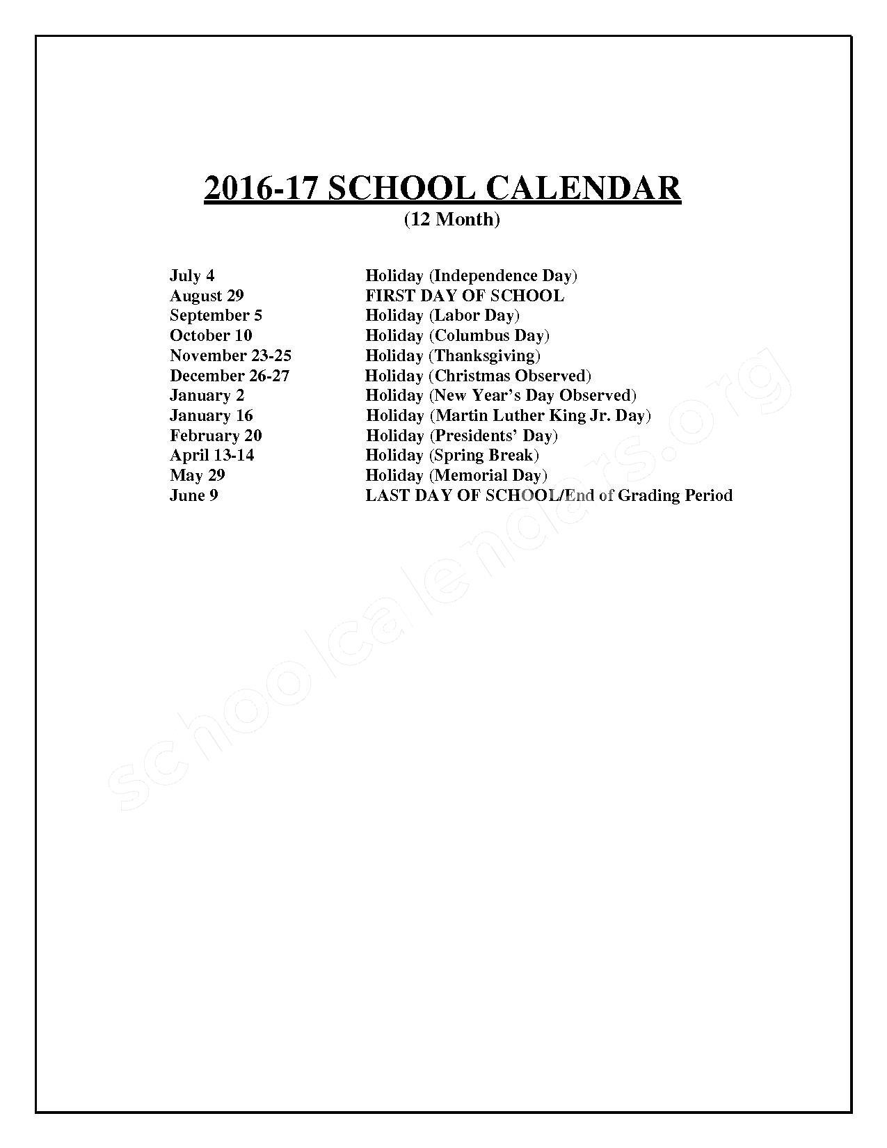 2016 2017staff Calendar Loudoun County Public Schools Ashburn Va