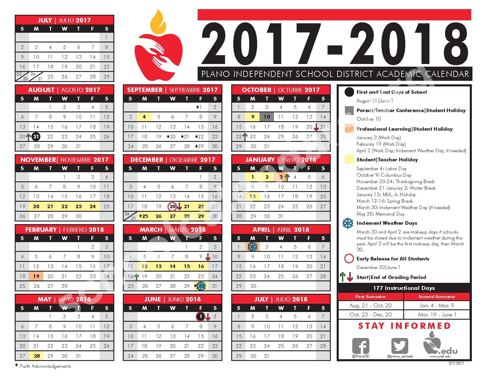 2017 - 2018 Academic Calendar – Plano Independent School District – page 1