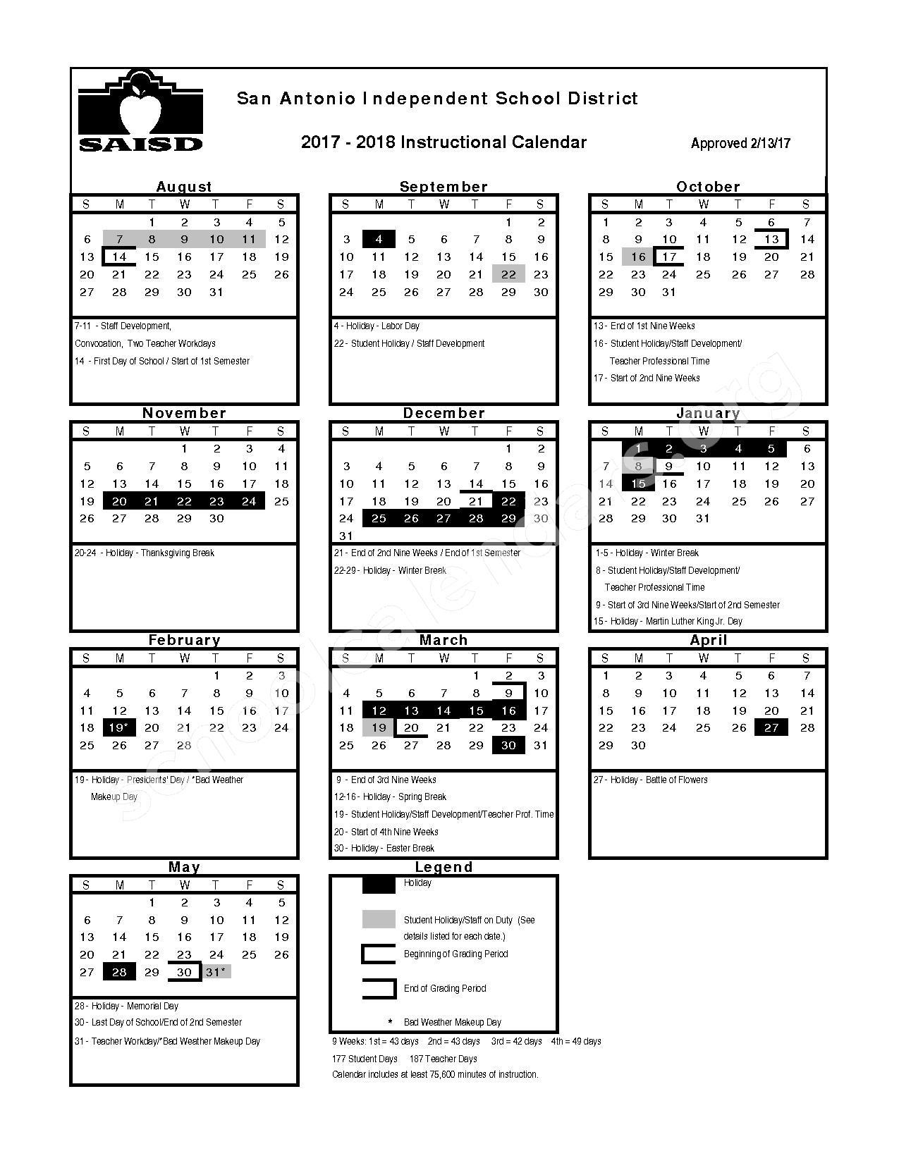 2017 - 2018 School Calendar – San Antonio Independent School District – page 1