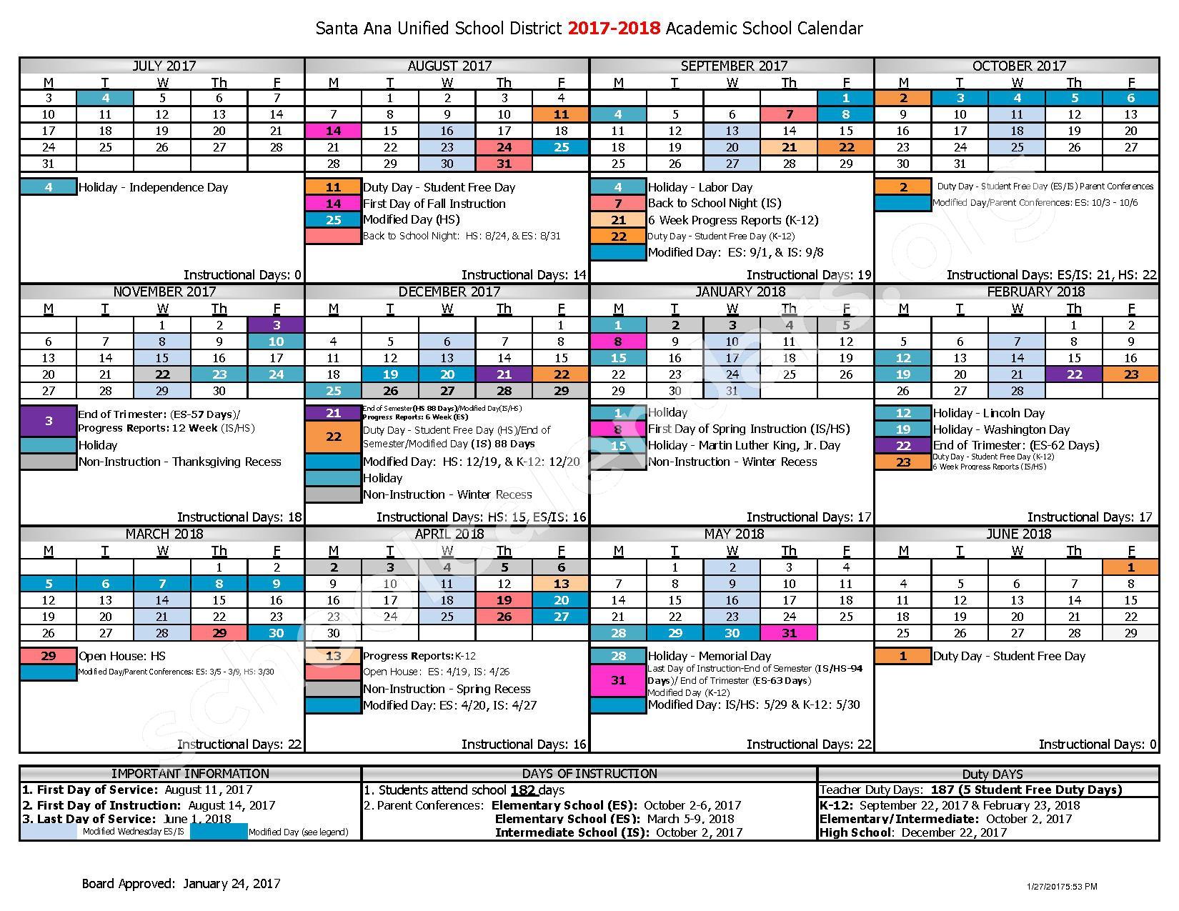 2017 - 2018 District Calendar – Santa Ana Unified School District – page 1