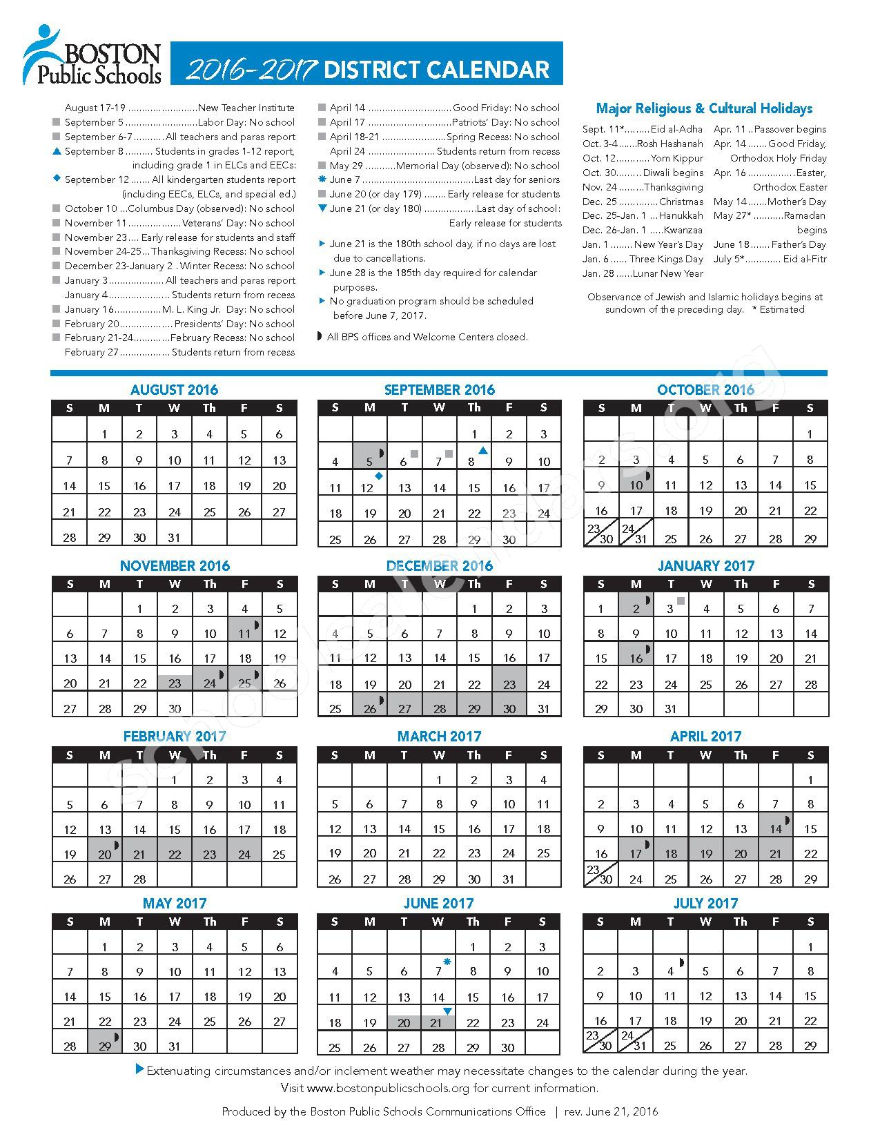 2016 - 2017 School Calendar – James Otis – page 1