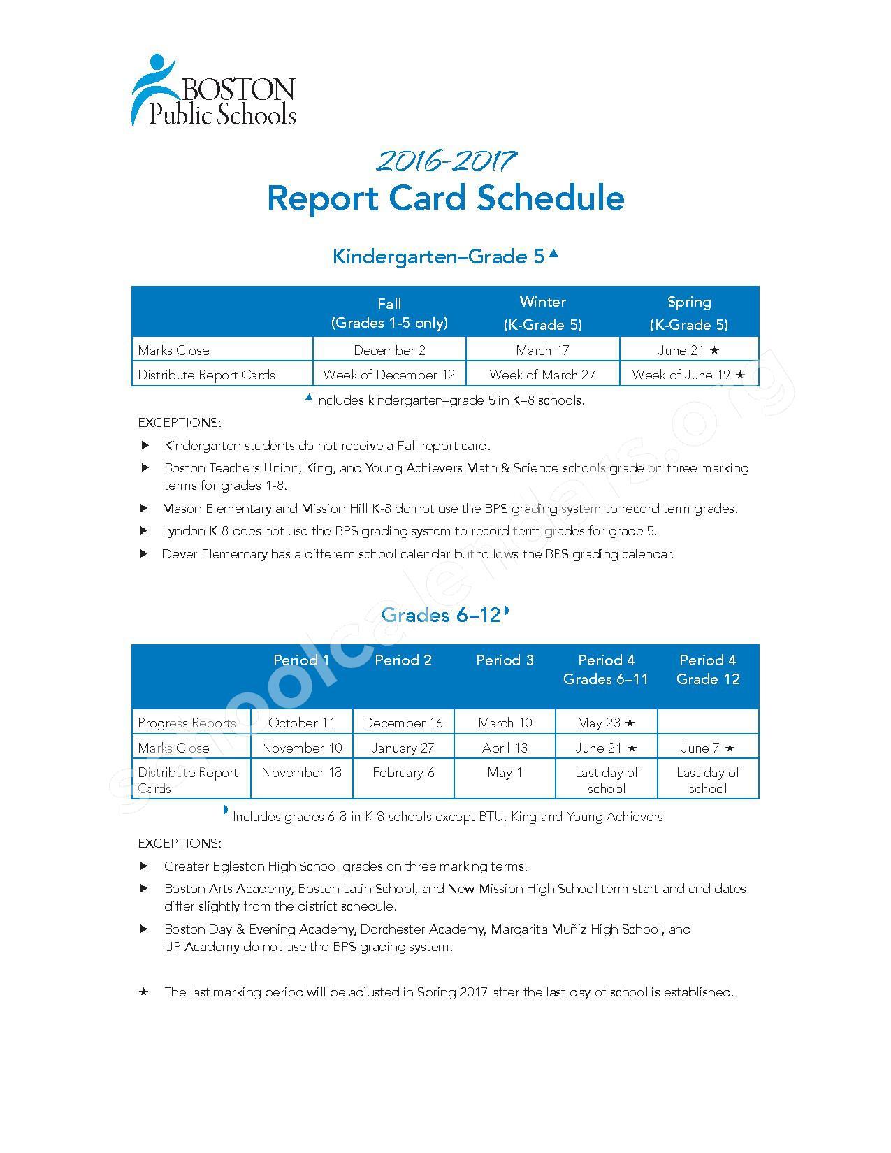 2016 - 2017 School Calendar – Boston Adult Academy – page 2