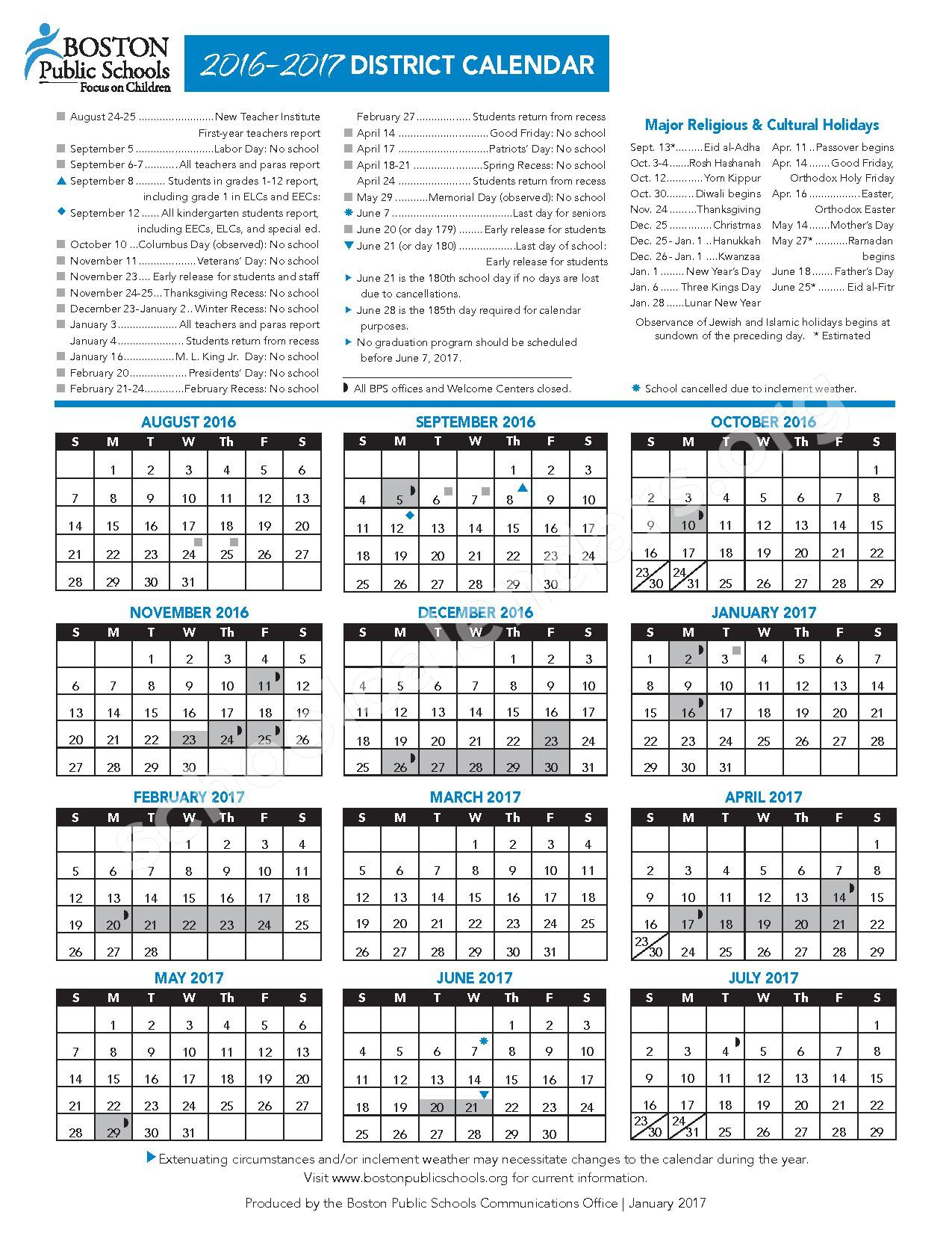 2016 - 2017 School Calendar – Techboston Upper Academy – page 1