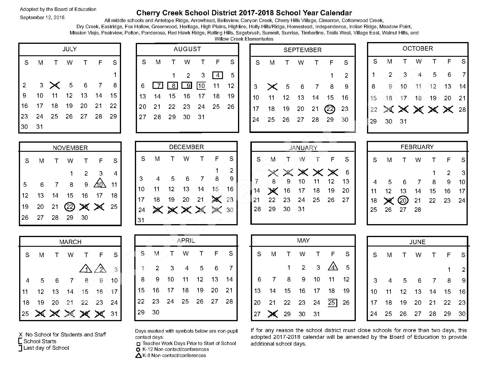 2017 - 2018 Common Calendar – Cherry Creek School District – page 1