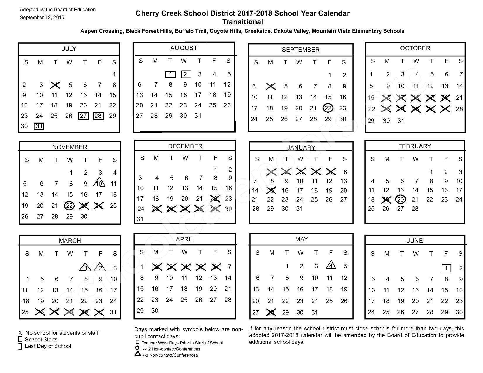 2017 - 2018 Transitional Calendar – Cherry Creek School District – page 1