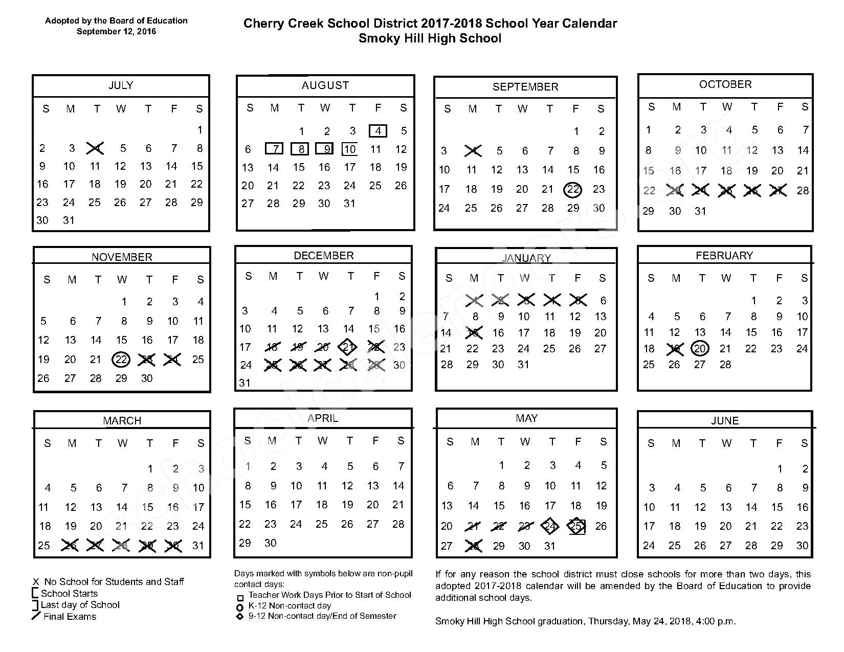 2017 - 2018 Smoky Hill High School Calendar – Smoky Hill High School – page 1
