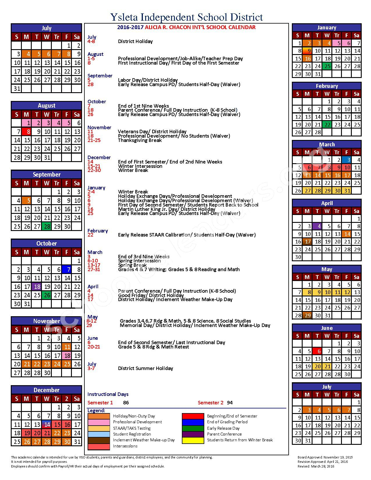 2016 - 2017 District Calendar – Desertaire Elementary School – page 1