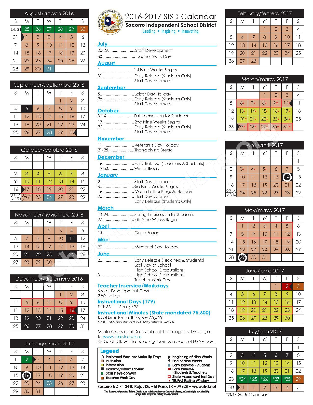 2016 - 2017 Student Calendar – Desertaire Elementary School – page 1