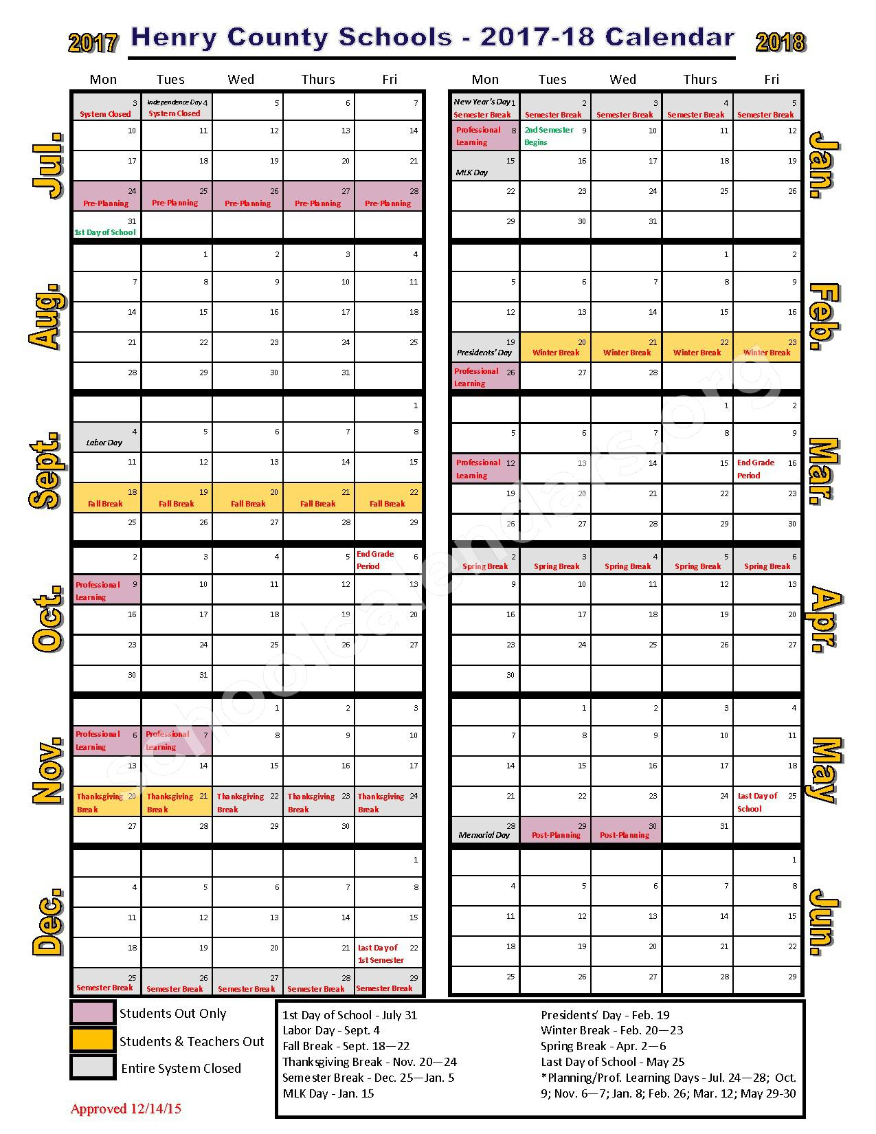 2017   2018 School Calendar | Henry County School District