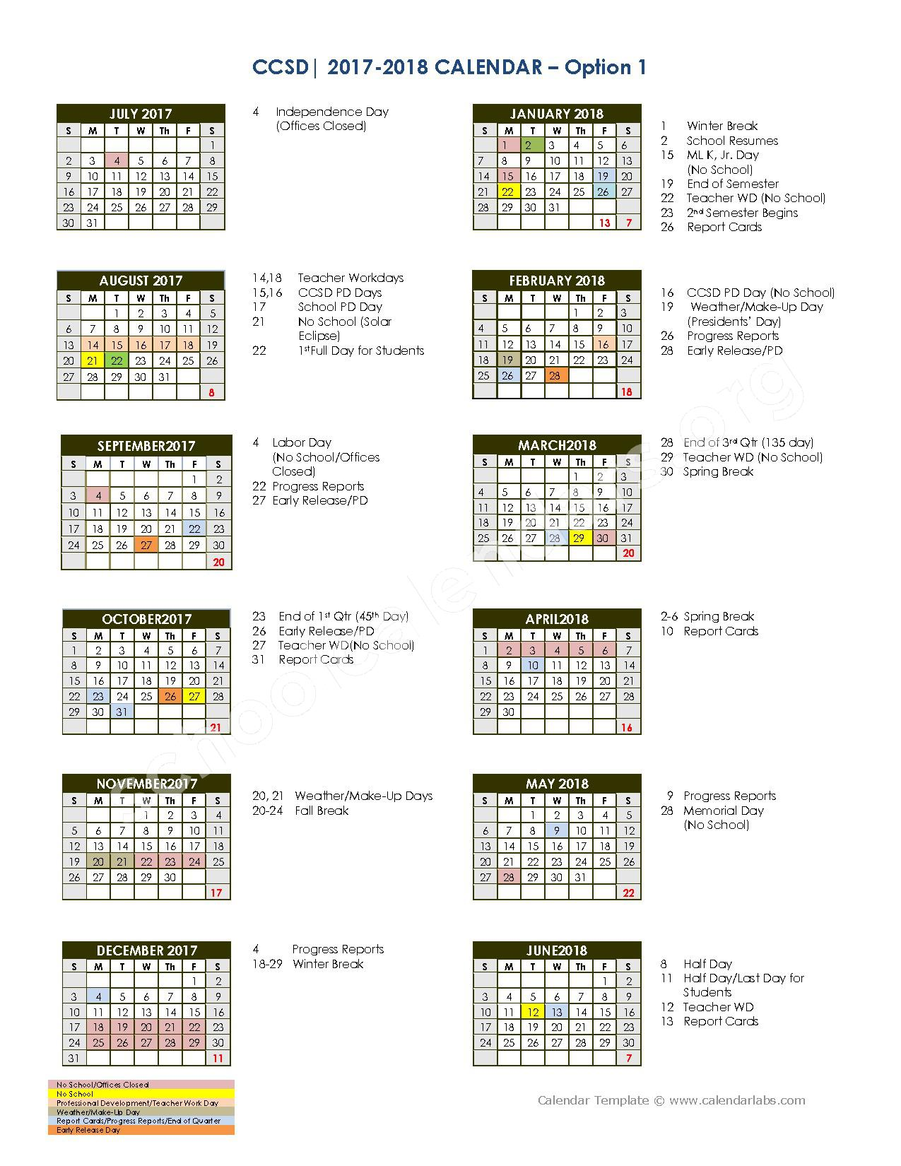 2017 - 2018 School Calendar – Charleston County School District  – page 1