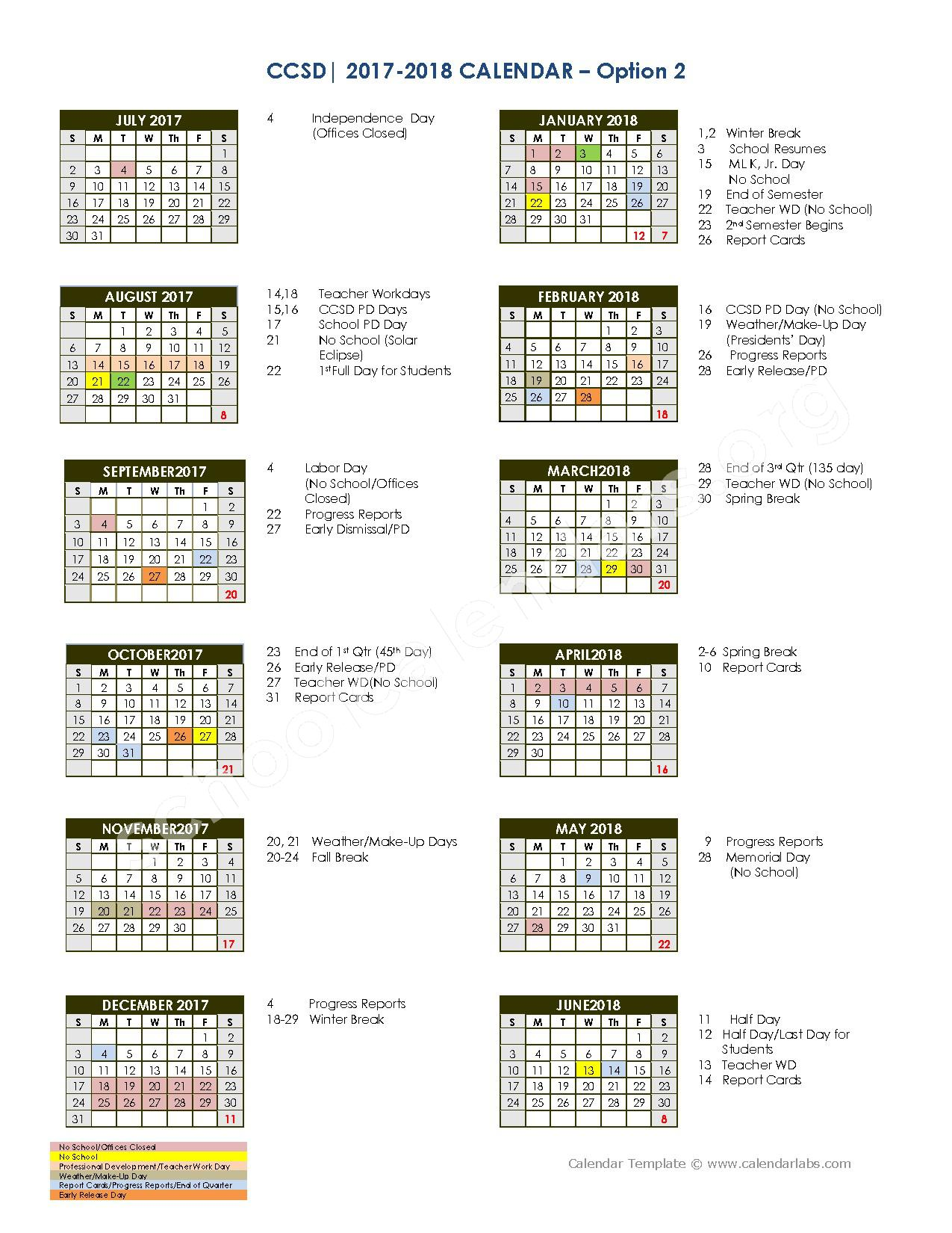 2017 - 2018 School Calendar – West Ashley Middle School – page 1