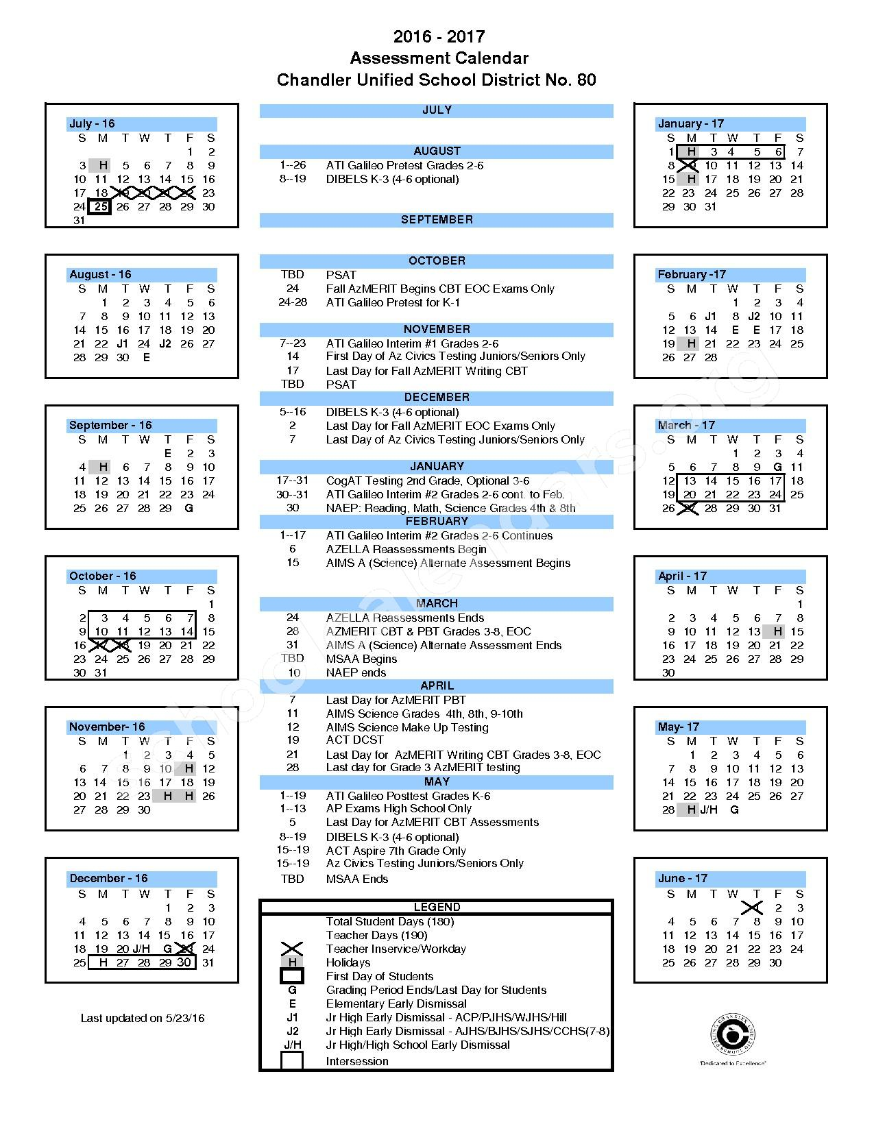 2016 - 2017 District Testing Calendar – Chandler Unified School District – page 1