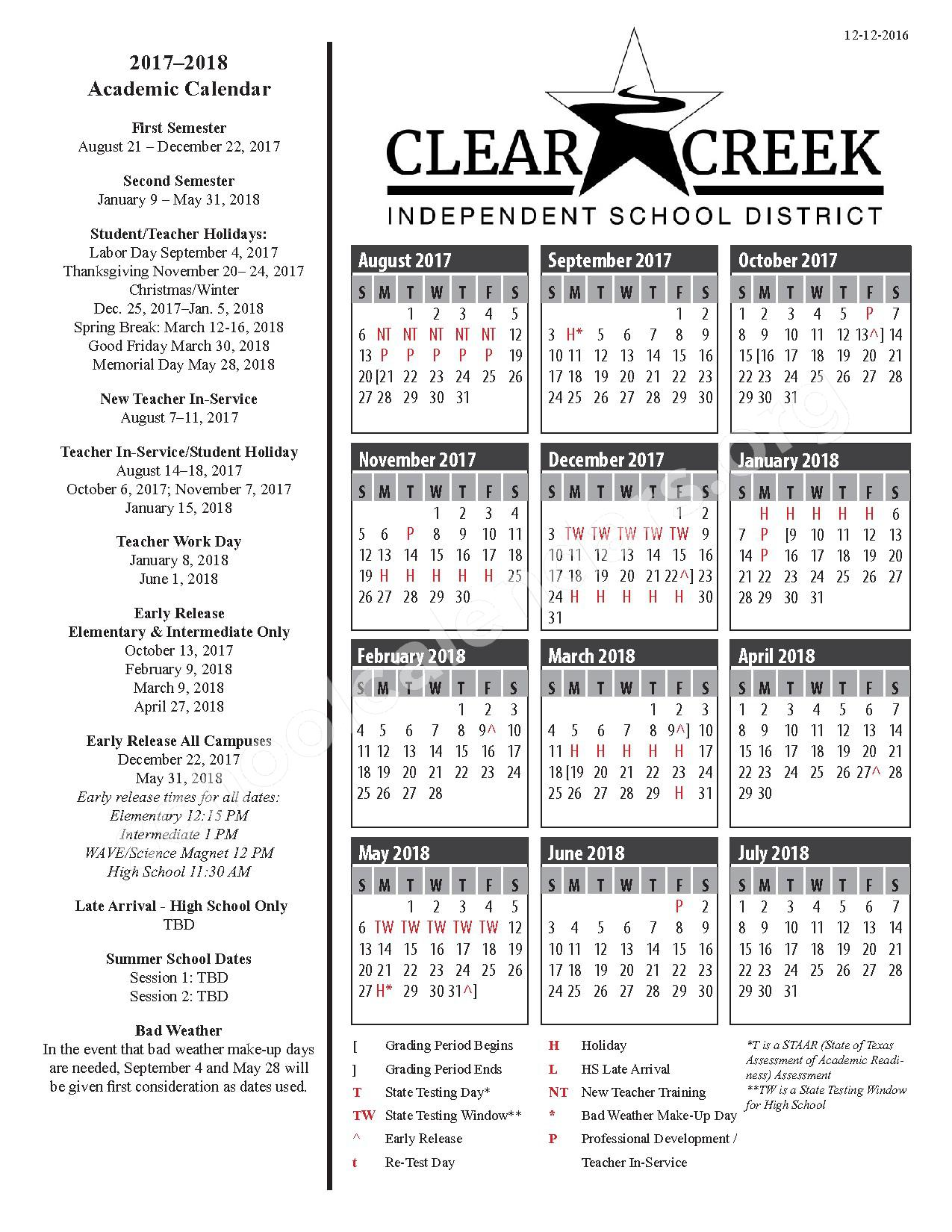 2017 - 2018 Academic Calendar – Clear Creek Independent School District – page 1