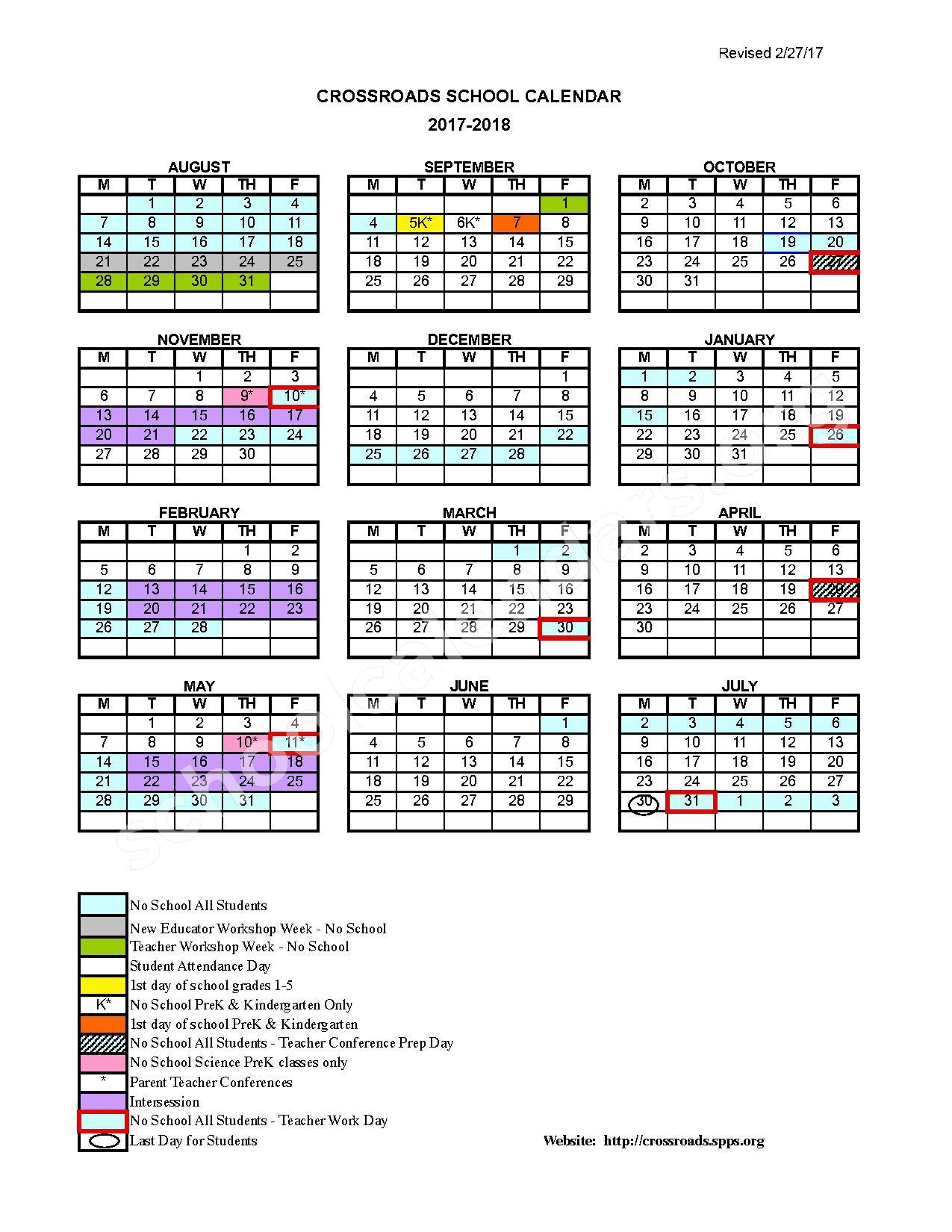 2017 - 2018 Crossroads School Calendar – Crossroads Elementary – page 1